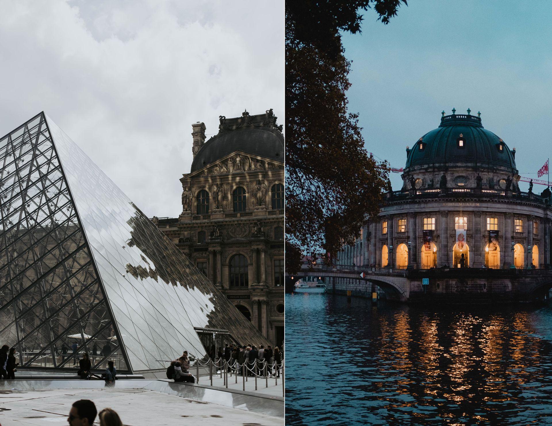 Louvre is closing until 1 December, but German museums still have their lights on Images: Louvre: © Austin Kehmeier; Bode Museum: © Danil Sorokin