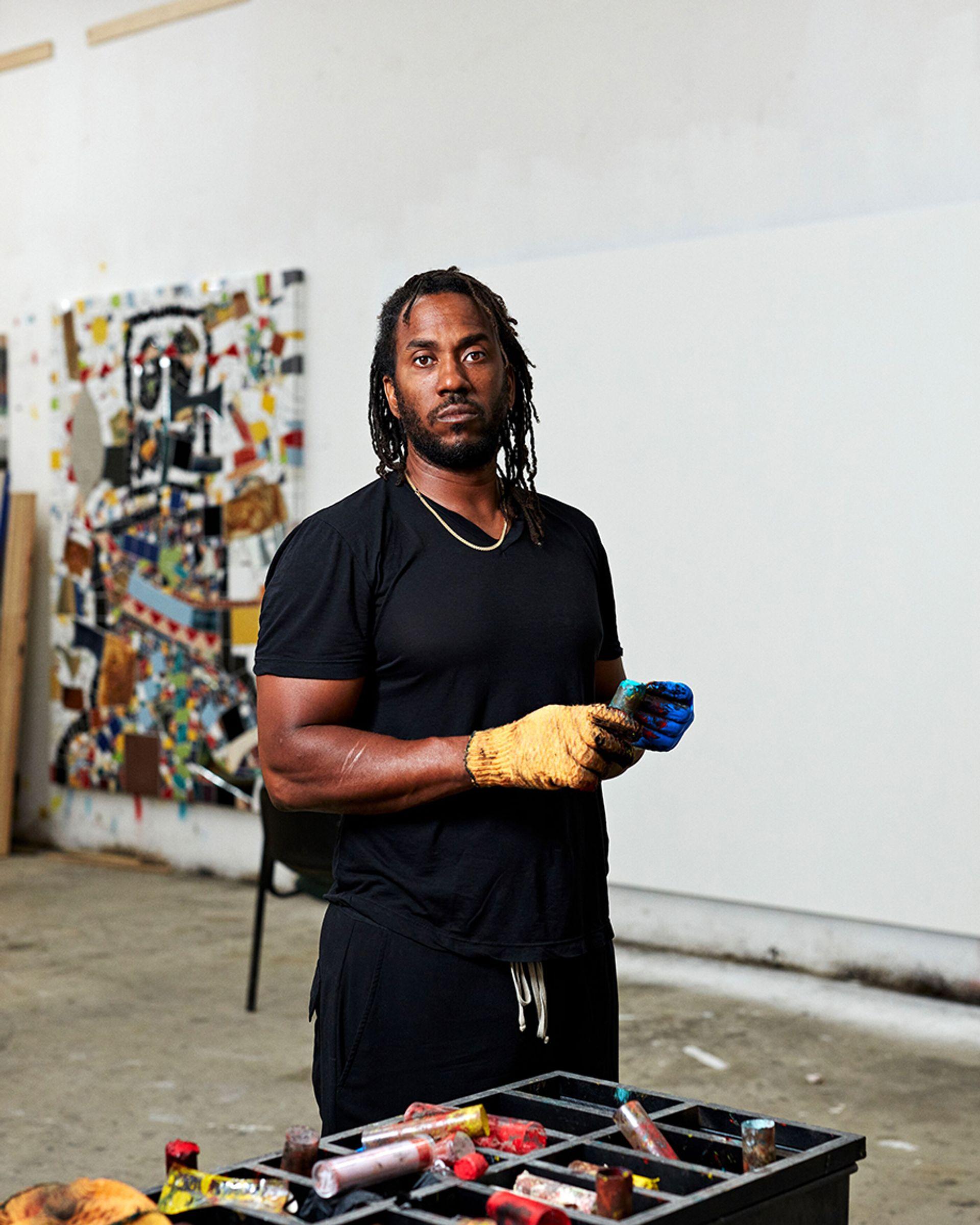 Rashid Johnson in the studio 2020 © Rashid Johnson. Courtesy the artist and Hauser & Wirth Photo: Axel Dupeux