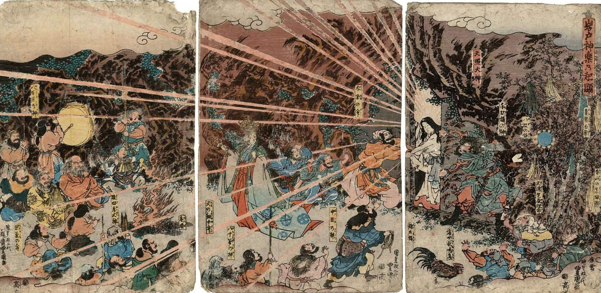 The sun goddess Amaterasu emerges from hiding in a cave after seeing her reflection in the mythical mirror Yata no Kagami Utagawa Kunisada