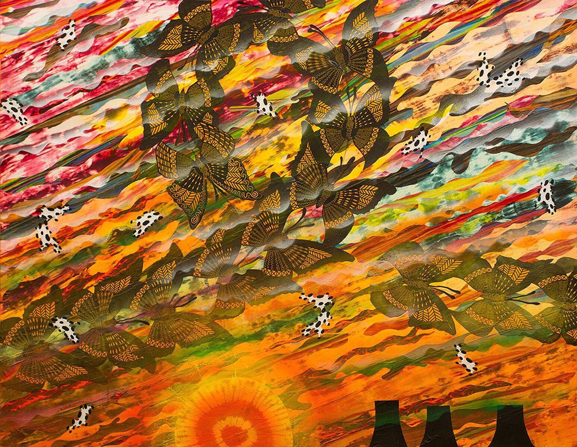 Merion Estes, Los Alamos Sunset (2014),  at the Craft & Folk Art Museum Photo: Matt Kazmer; courtesy of the artist
