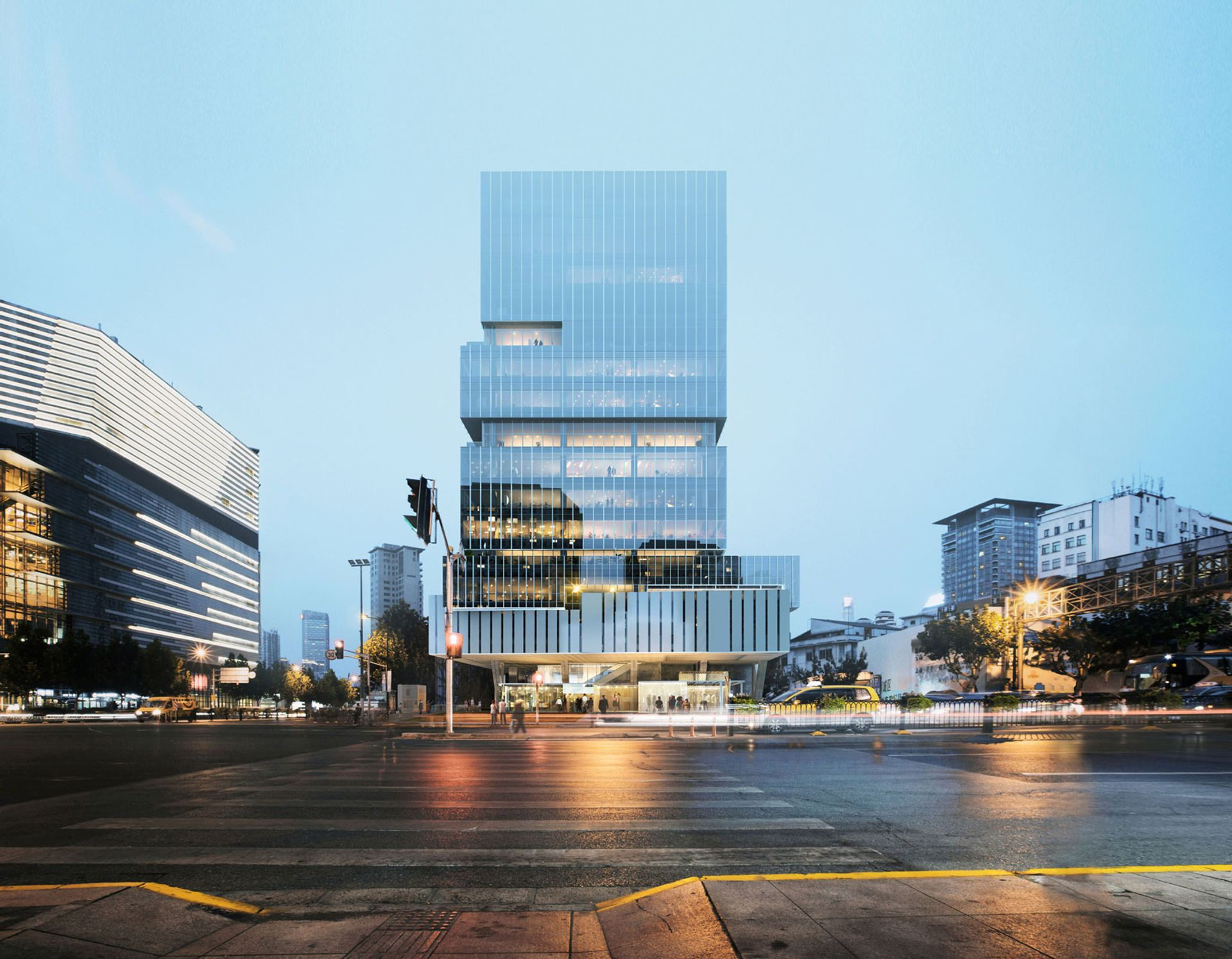 UCCA Center for Contemporary Art new Shanghai space will  be housed in an 86m tower currently being constructed along the city's Suzhou Creek Image courtesy of K. Wah Group