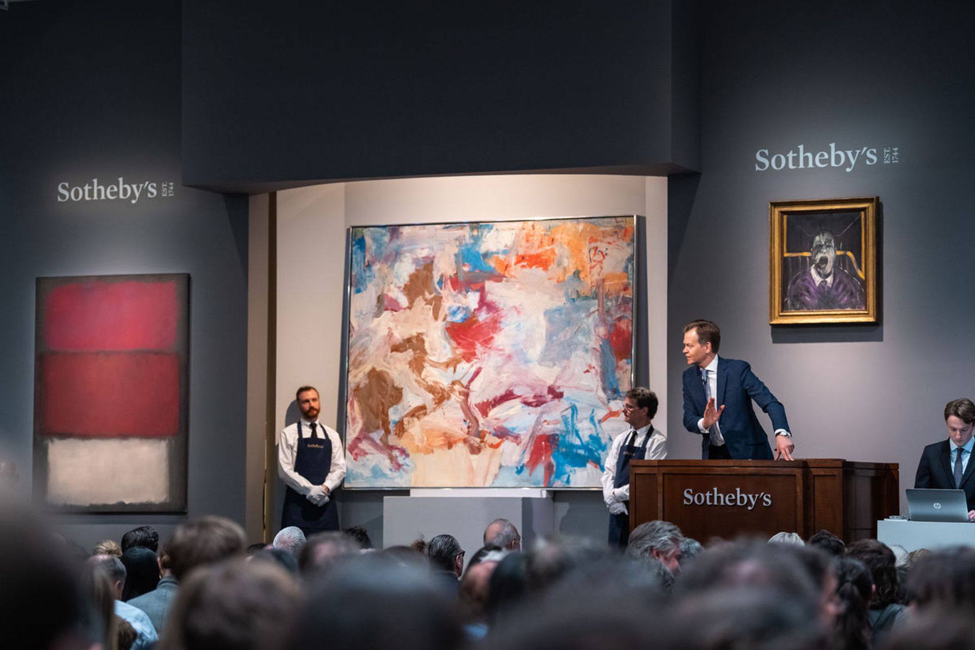 Mark Rothko's Untitled (1960) on the left here was deaccessioned by the San Francisco Museum of Modern Art in 2019 Courtesy of Sotheby's
