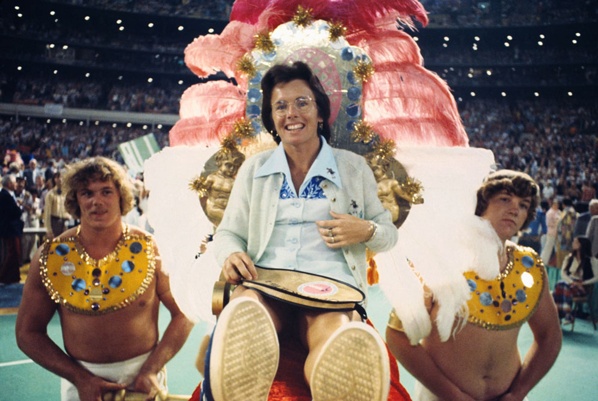 """Billie Jean King was carried into the Houston Astrodome to play Bobby Riggs in the """"Battle of the Sexes"""" match, which an estimated 90 million people around the world watched on 20 September 1973 Bettmann Archive/Getty Images"""