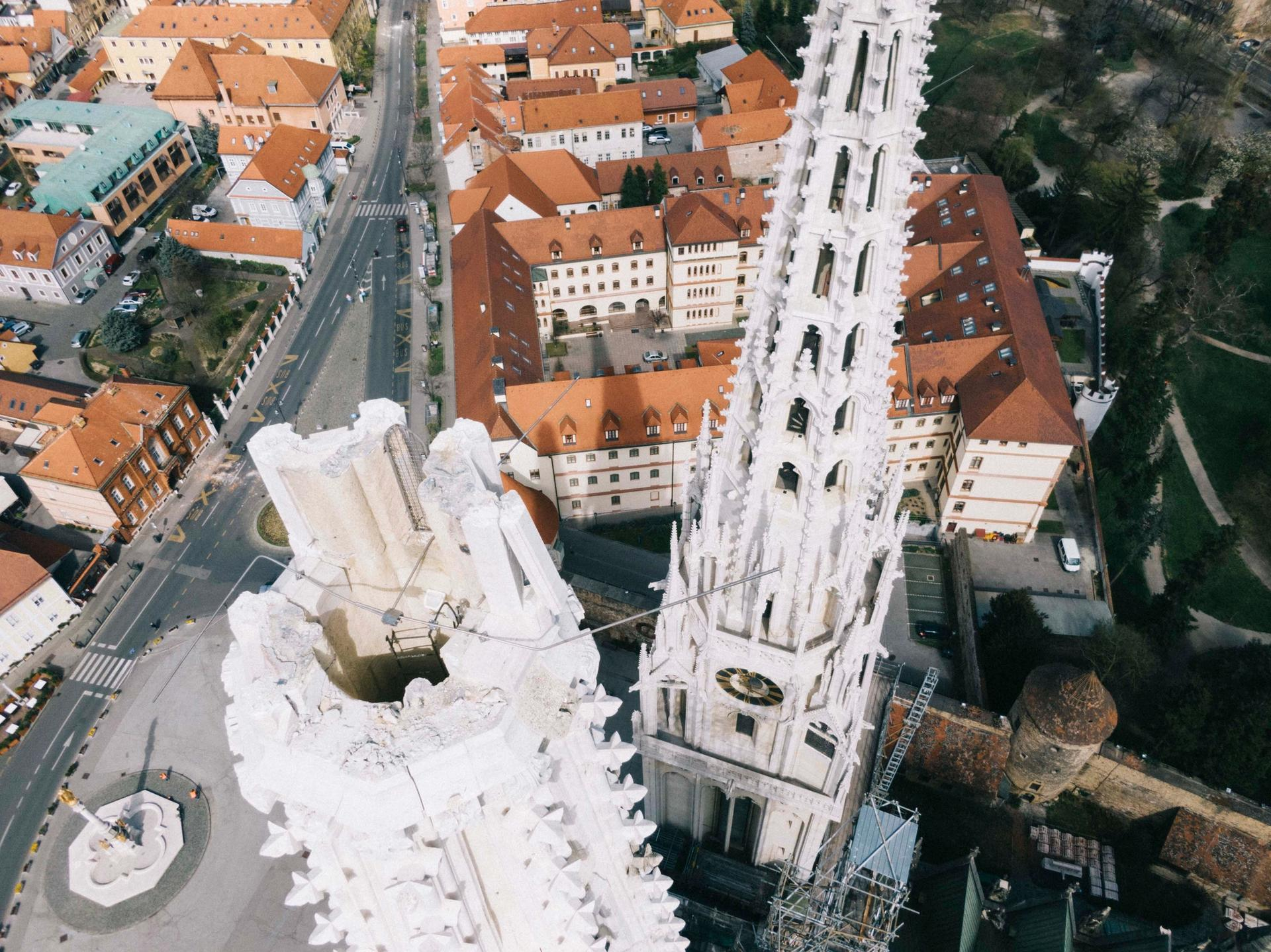 Zagreb cathedral the day after the earthquake