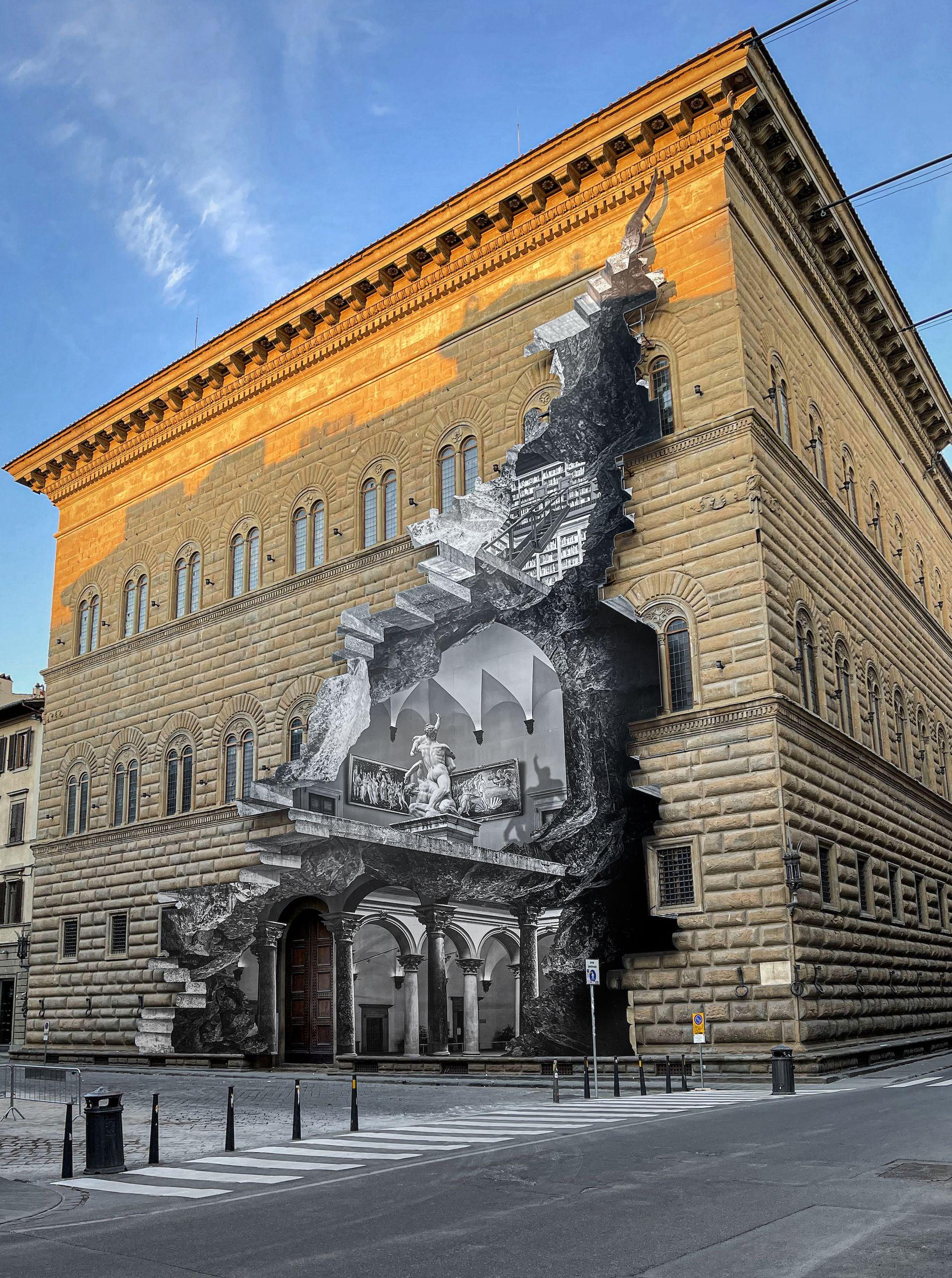 JR's La Ferita (the wound) at the Palazzo Strozzi in Florence Photo: JR