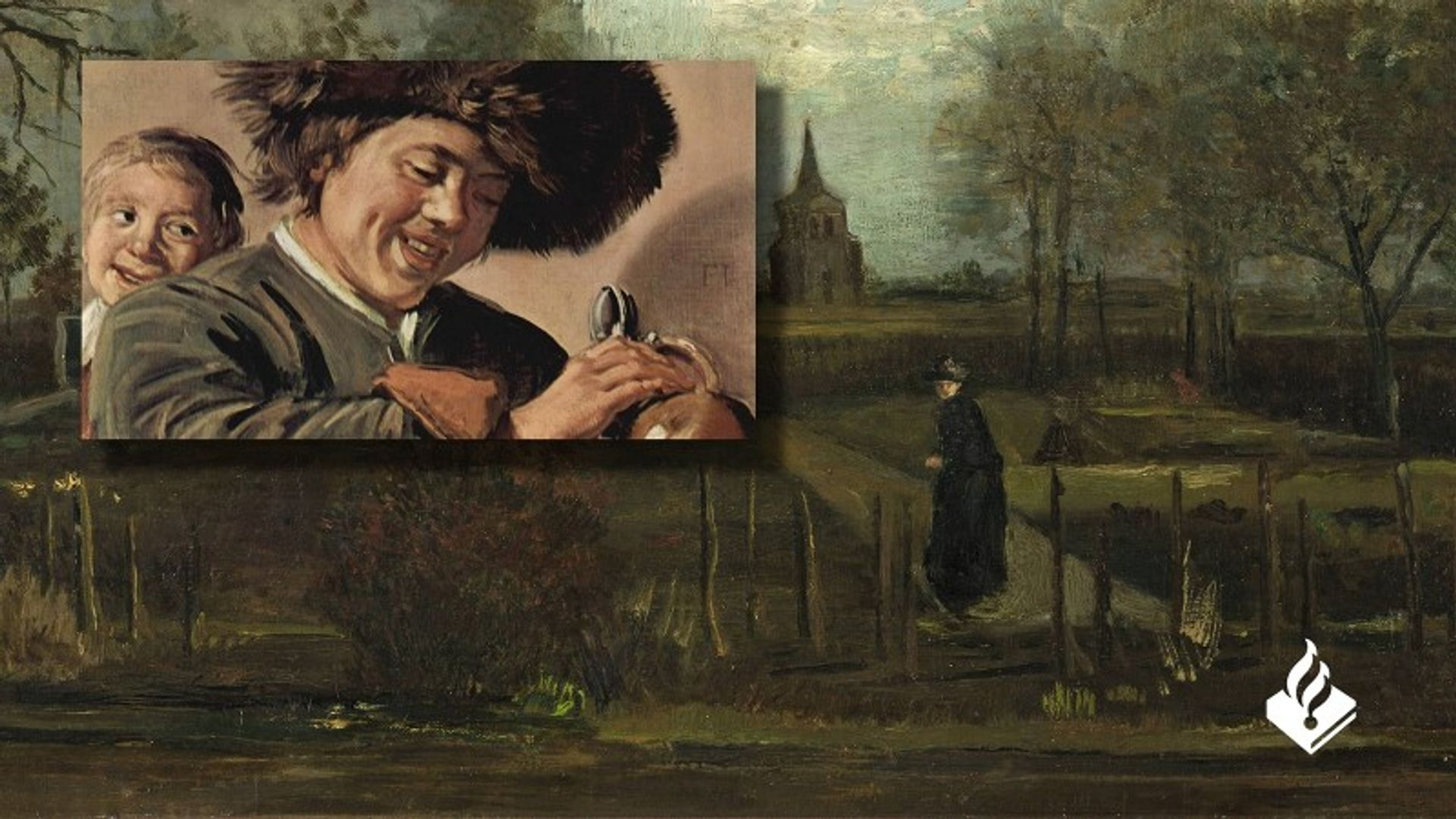 A montage publicising the arrest, showing Van Gogh's The Parsonage Garden at Nuenen in Spring (March 1884) and detail of Frans Hals' Two Laughing Boys (around 1626), with the Dutch police logo Courtesy of Netherlands Police