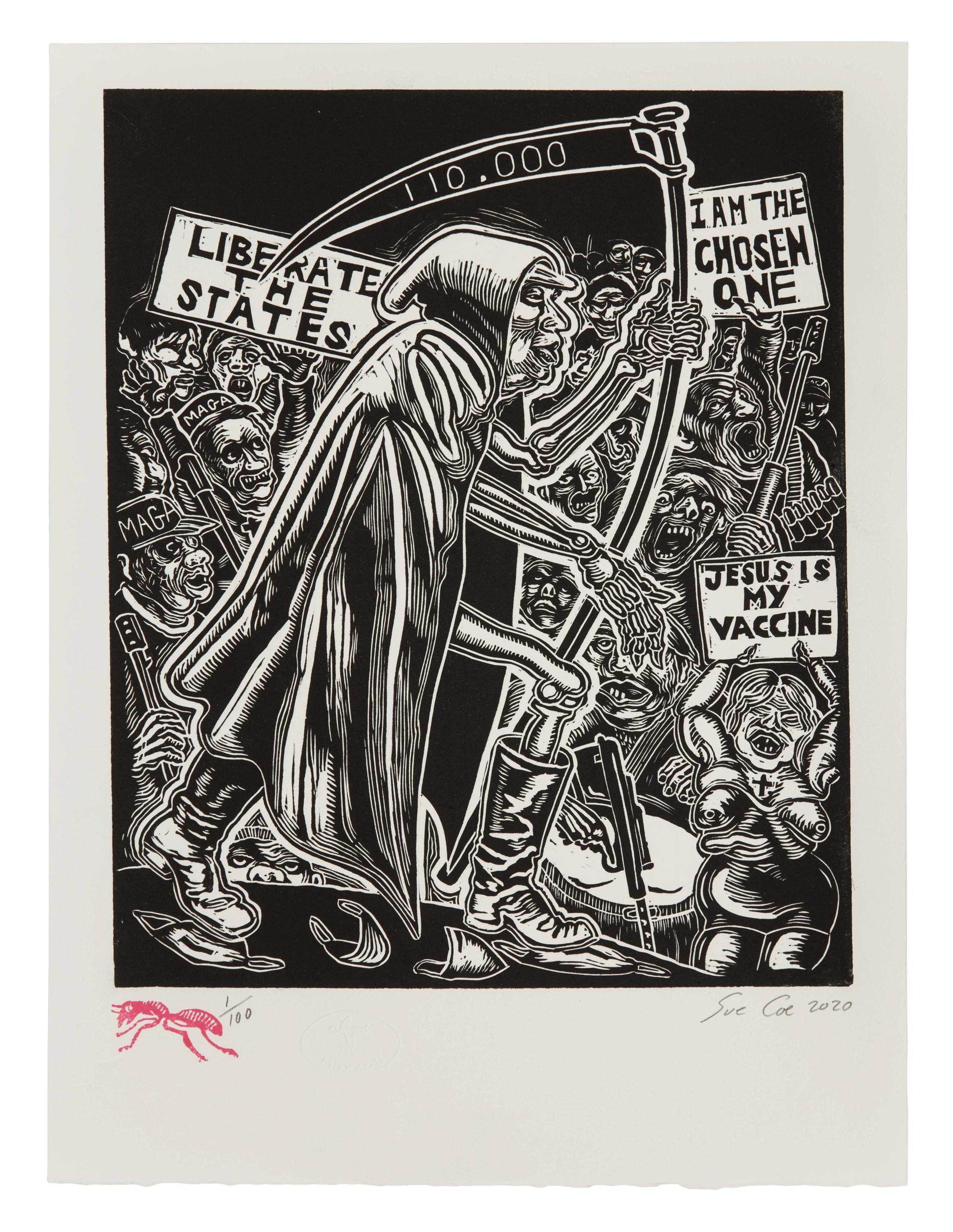 Sue Coe, Dim Reaper (2020) © 2020 Sue Coe. Courtesy of Galerie St Etienne, New York