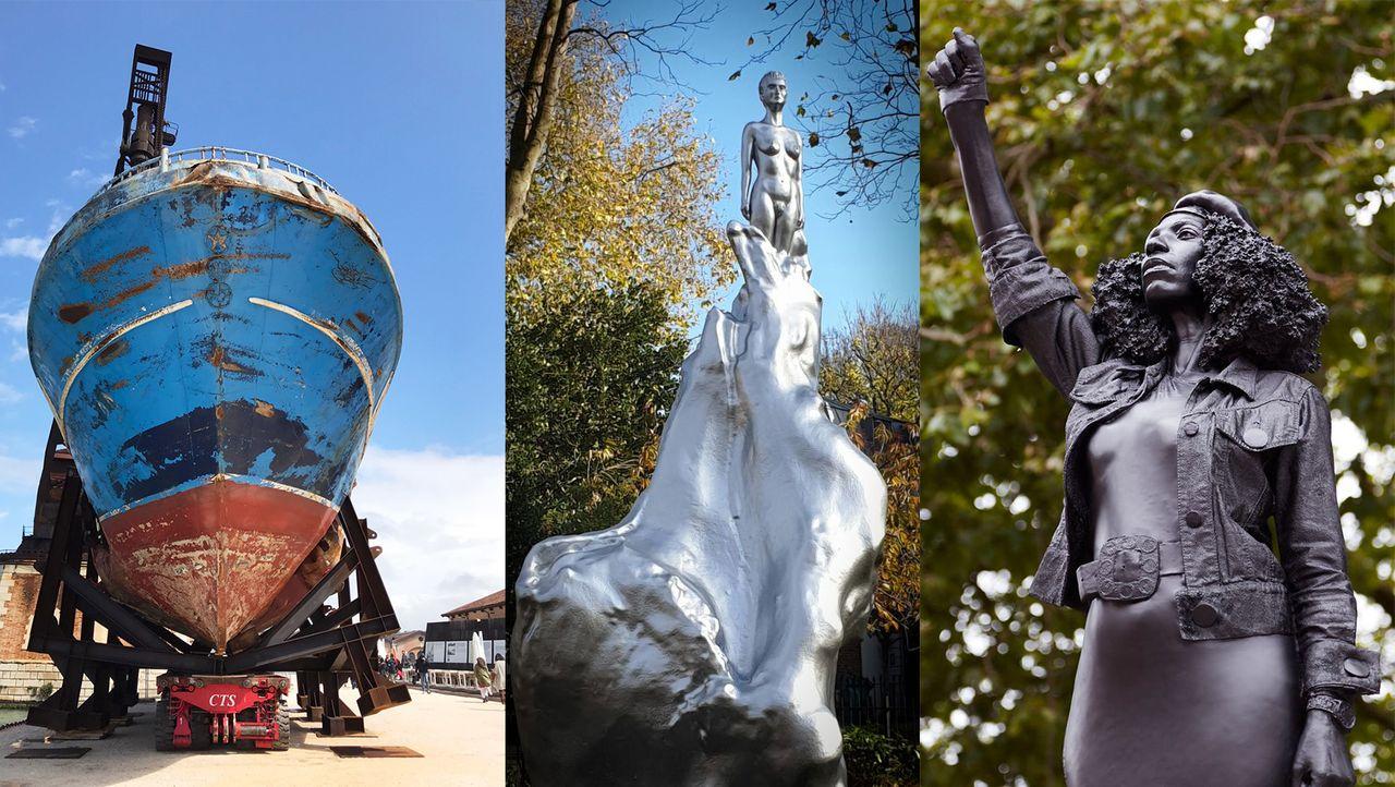 Public sculptures by Christoph Büchel, Maggi Hambling, and Marc Quinn have divided opinion © La Biennale di Venezia © Grim23; © Marc Quinn studio