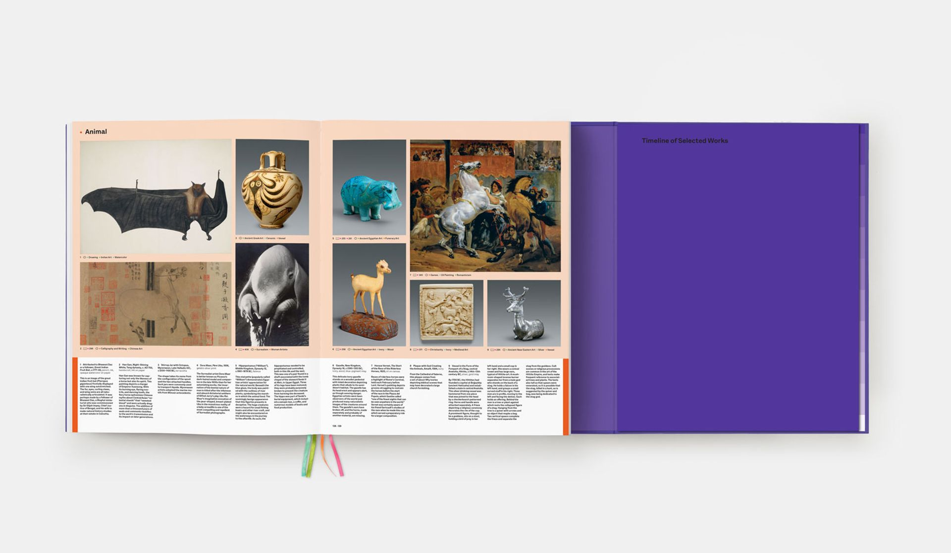 A spread from the Art= book showing animals