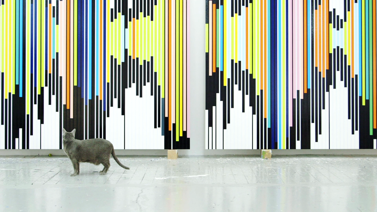 Sarah Morris and Alexander Kluge's Cats in Space (2020) Courtesy of the artist and König Galerie