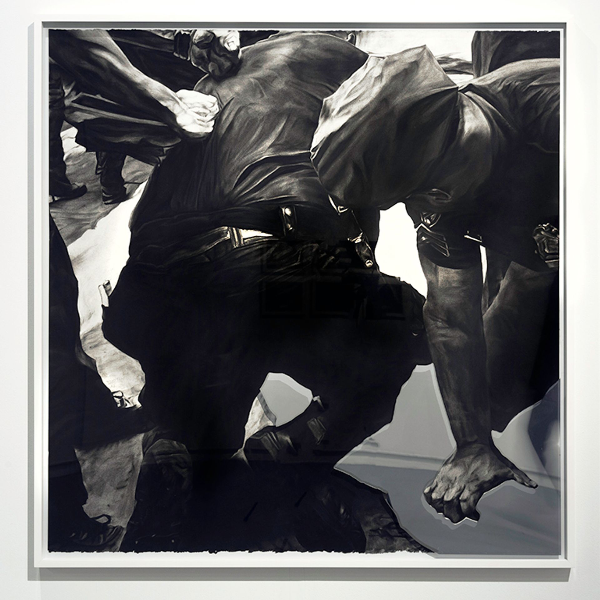 Shaun Leonardo, Freddy Pereira (3 of 3), 2019, charcoal on paper with mirrored tint on frame Courtesy of the artist