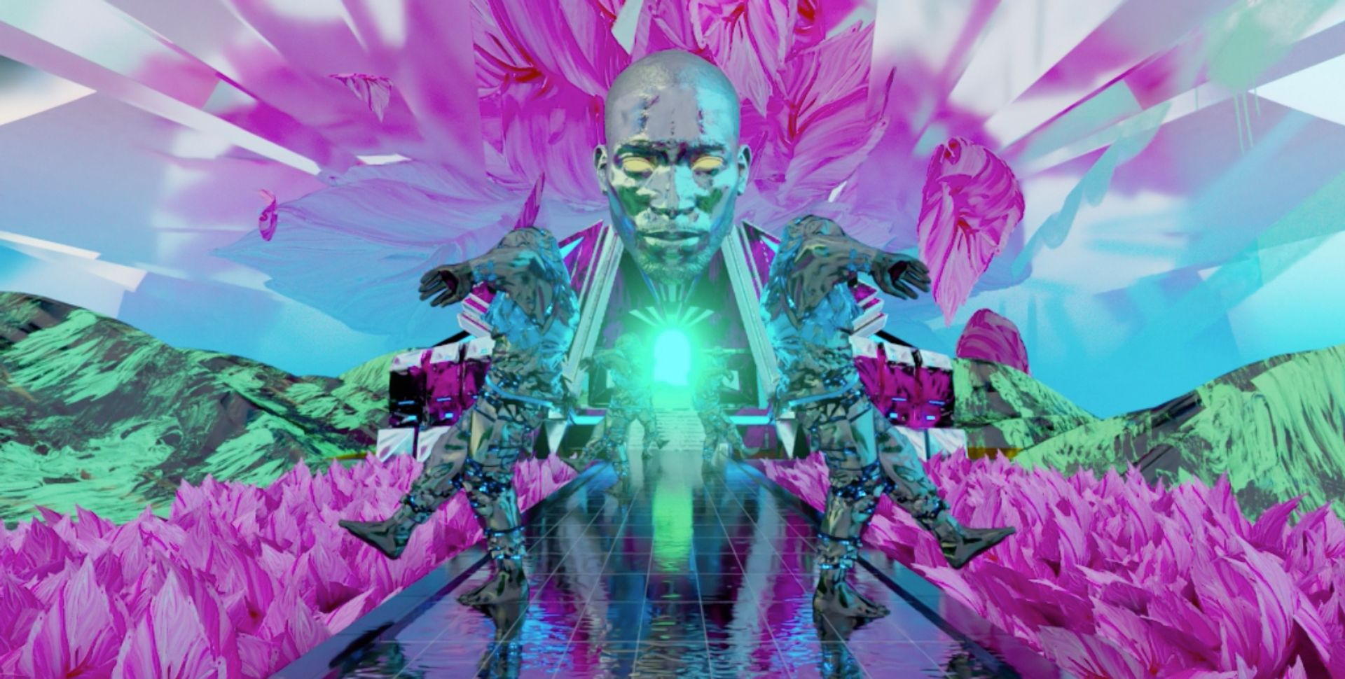 An NFT video still of Present the Future, a collaborative digital artwork by Sassan Behnam-Bakhtiar, Tinie Tempah and Vector Meldrew Courtesy of the artists