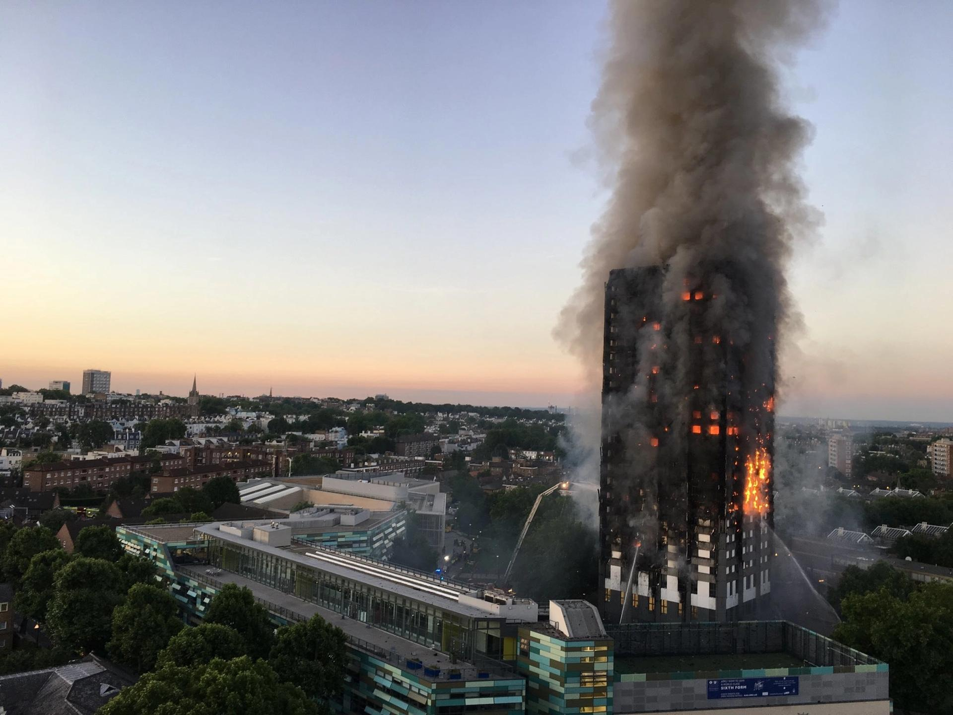Grenfell Tower fire on June 2017 Photo: Natalie Oxford