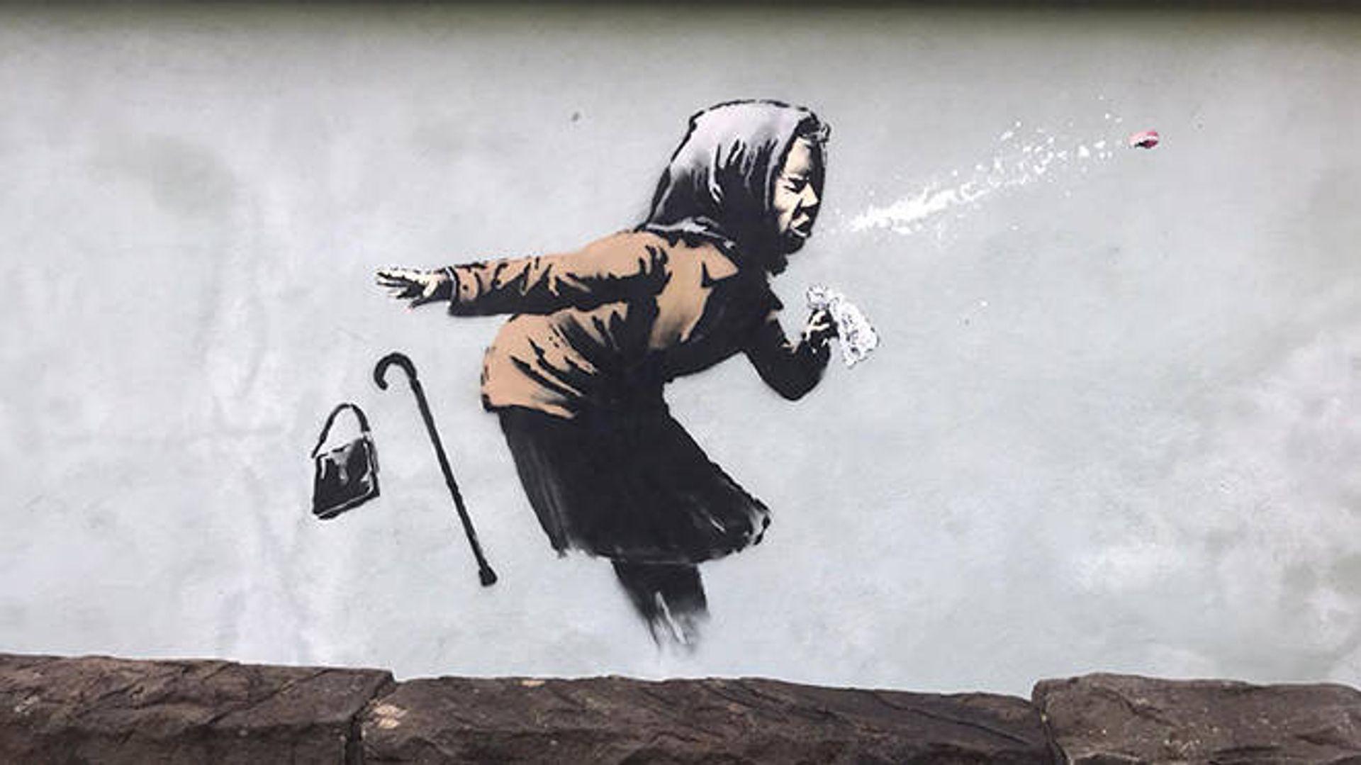 Banksy's Aachoo!! (2020) appeared on a house in Bristol earlier this week © Sam Cook