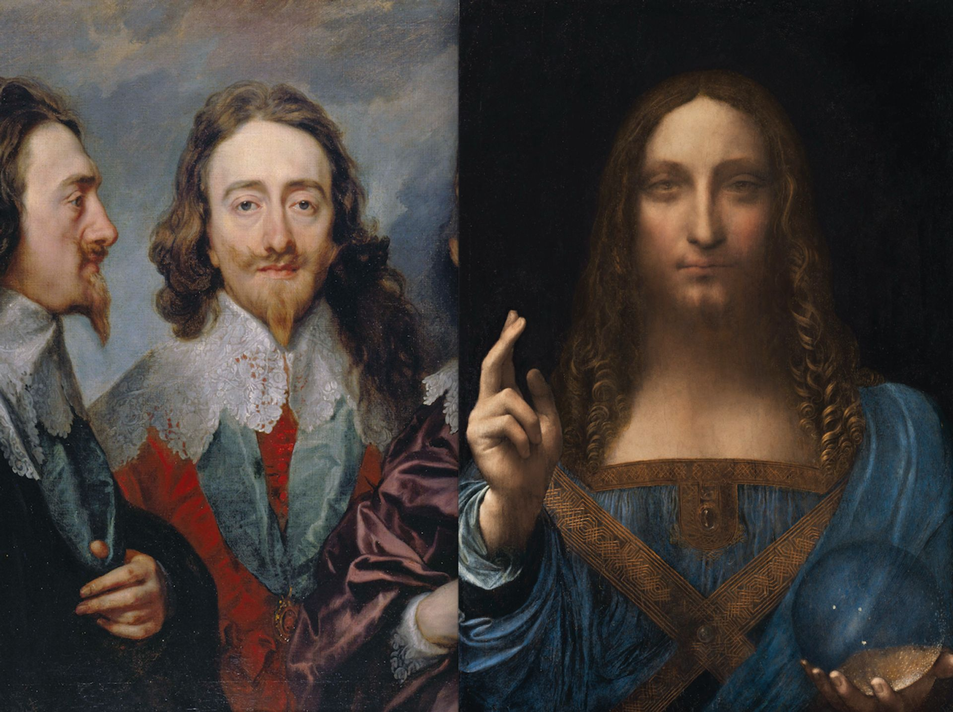 Detail of Anthony van Dyck's Charles I (1635-36) and Leonardo's Salvator Mundi (around 1500) was sold for £45 at Sotheby's London in 1958. Photo: © Christie's Images, 2017 Charles: Royal Collection Trust / © Her Majesty Queen Elizabeth II 2017. Salvator Mundi: Christie's Images, 2017