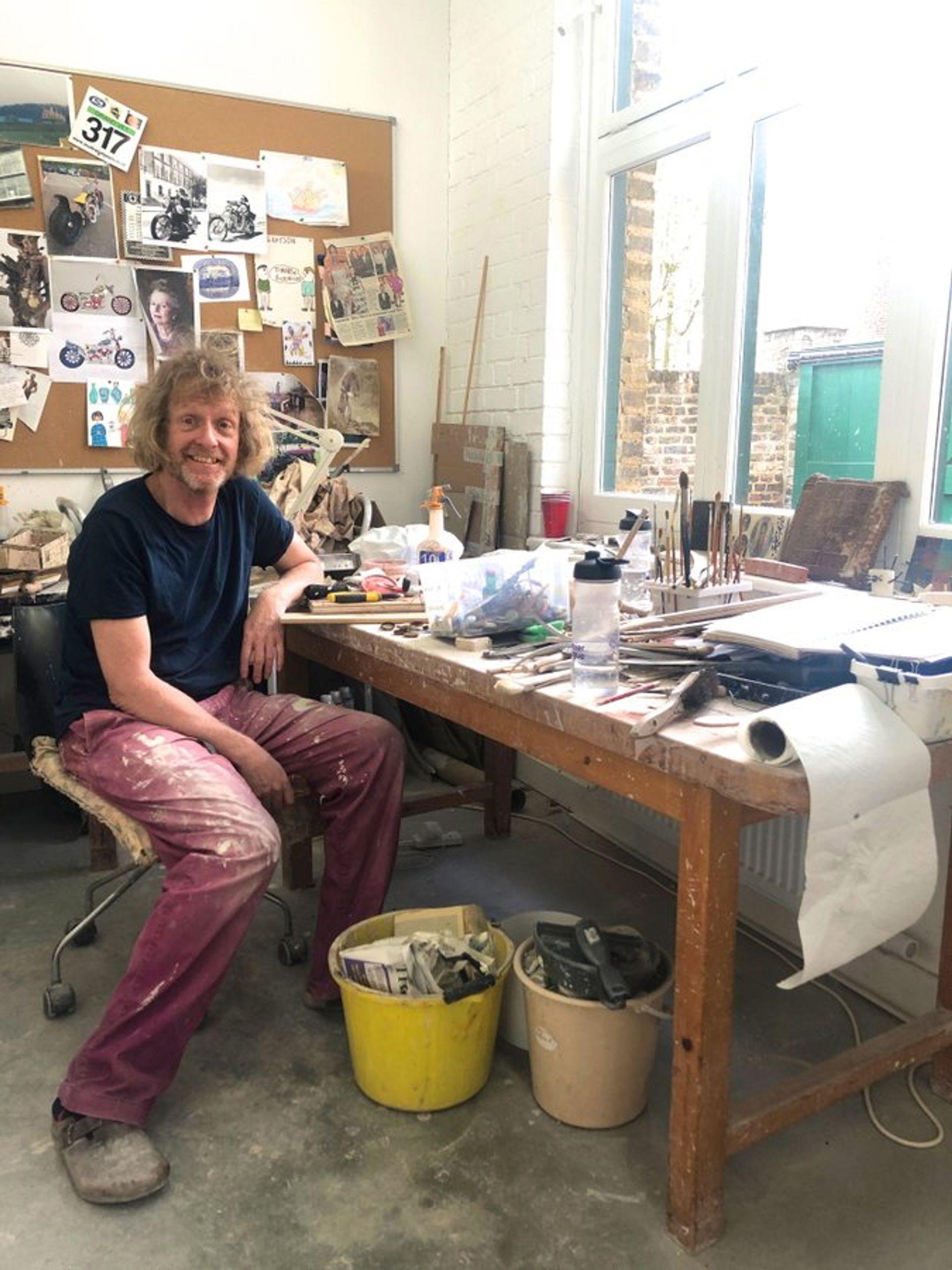 Grayson Perry in his studio courtesy of artist