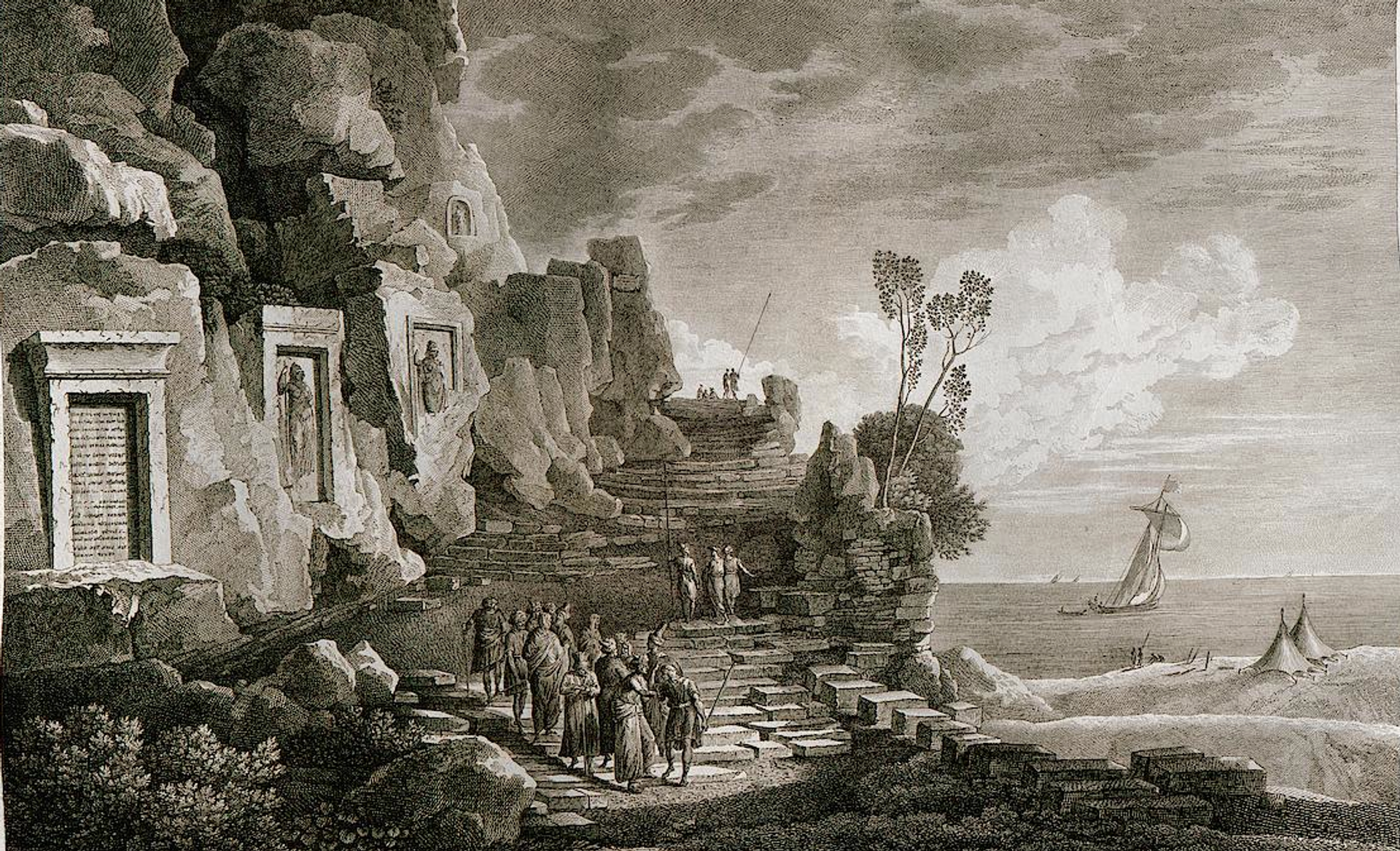In this 1799 engraving by Louis François Cassas he depicts the Nahr el Kelb stalae