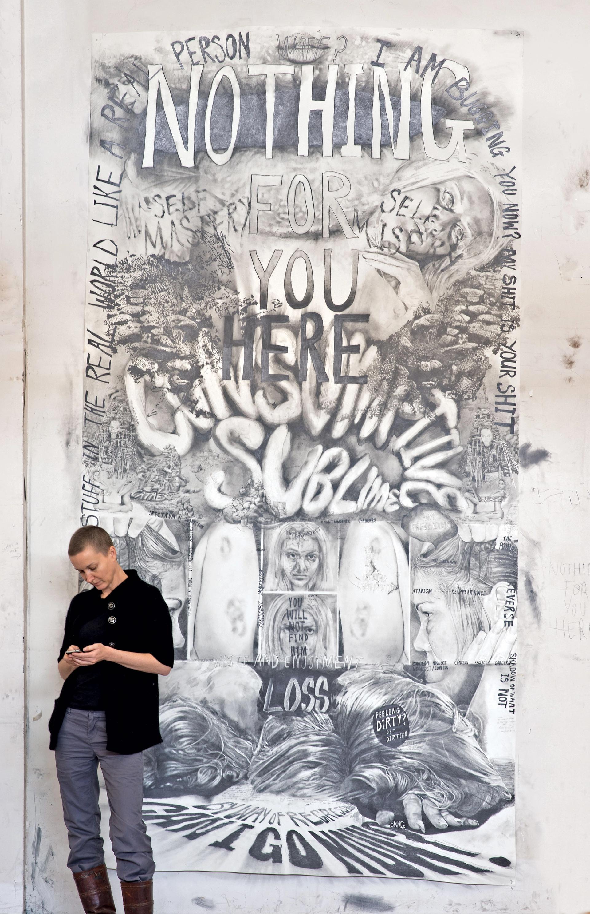 Kaari Upson in her studio, in front of her drawing Consumptive Sublime (2012) © Kaari Upson; courtesy of the artist