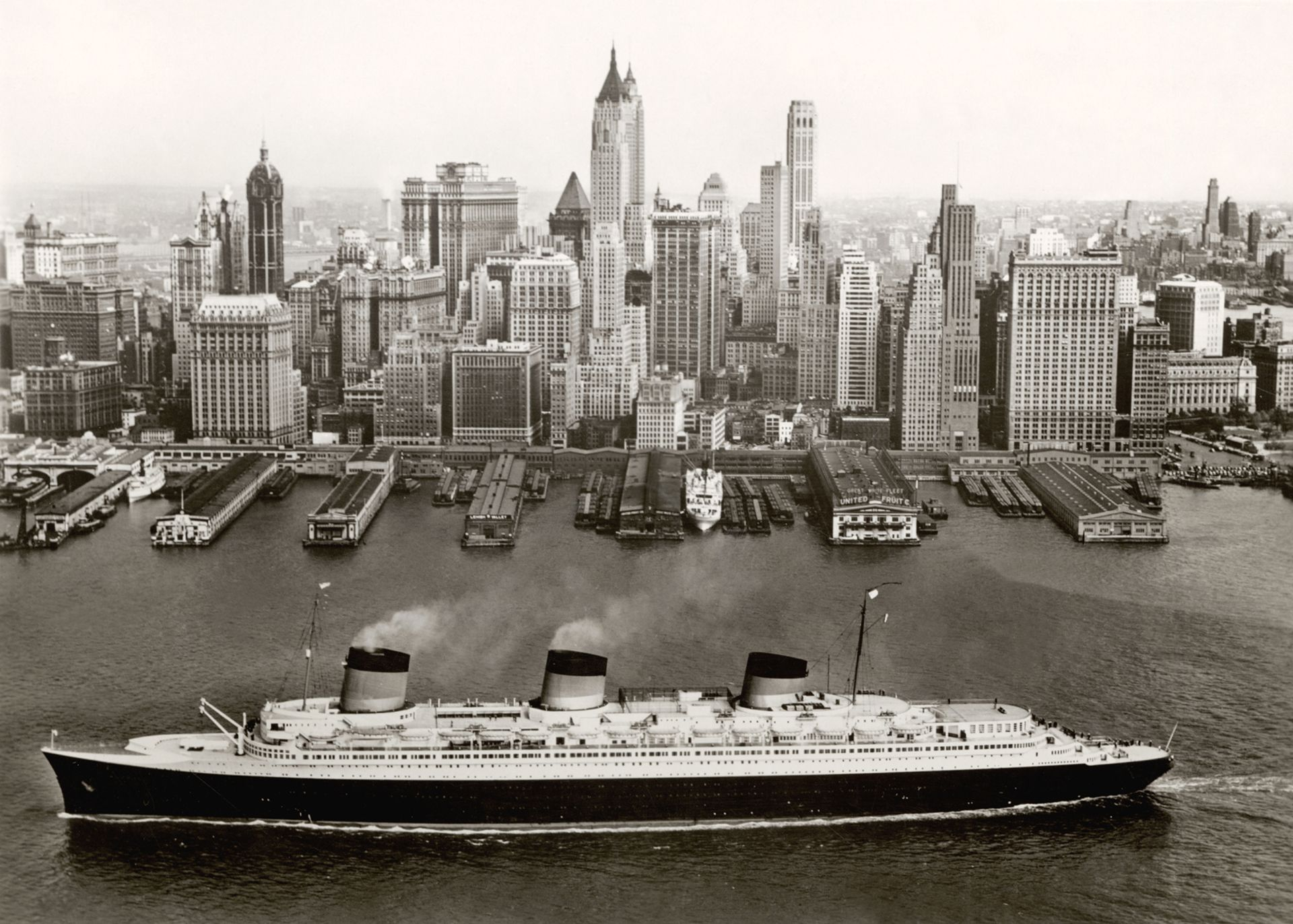 The Normandie in New York around 1935-39 Collection French Lines