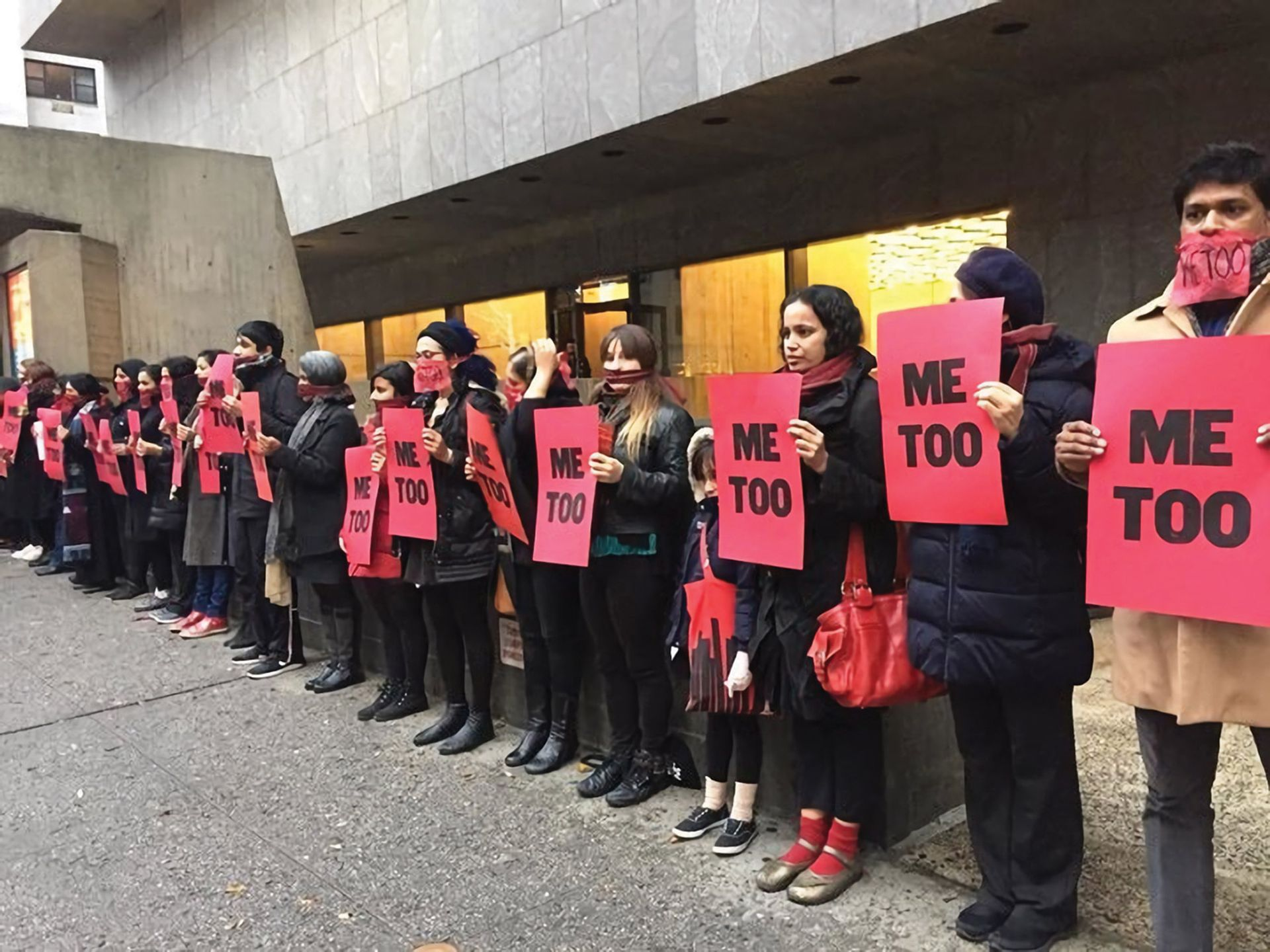 "Protestors participating in ""#MeToo at The Met"" (performance/protest by artist Jaishri Abichandani) on Dec. 3, 2017; the location of Raghubir Singh exhibit. Priscilla Frank"