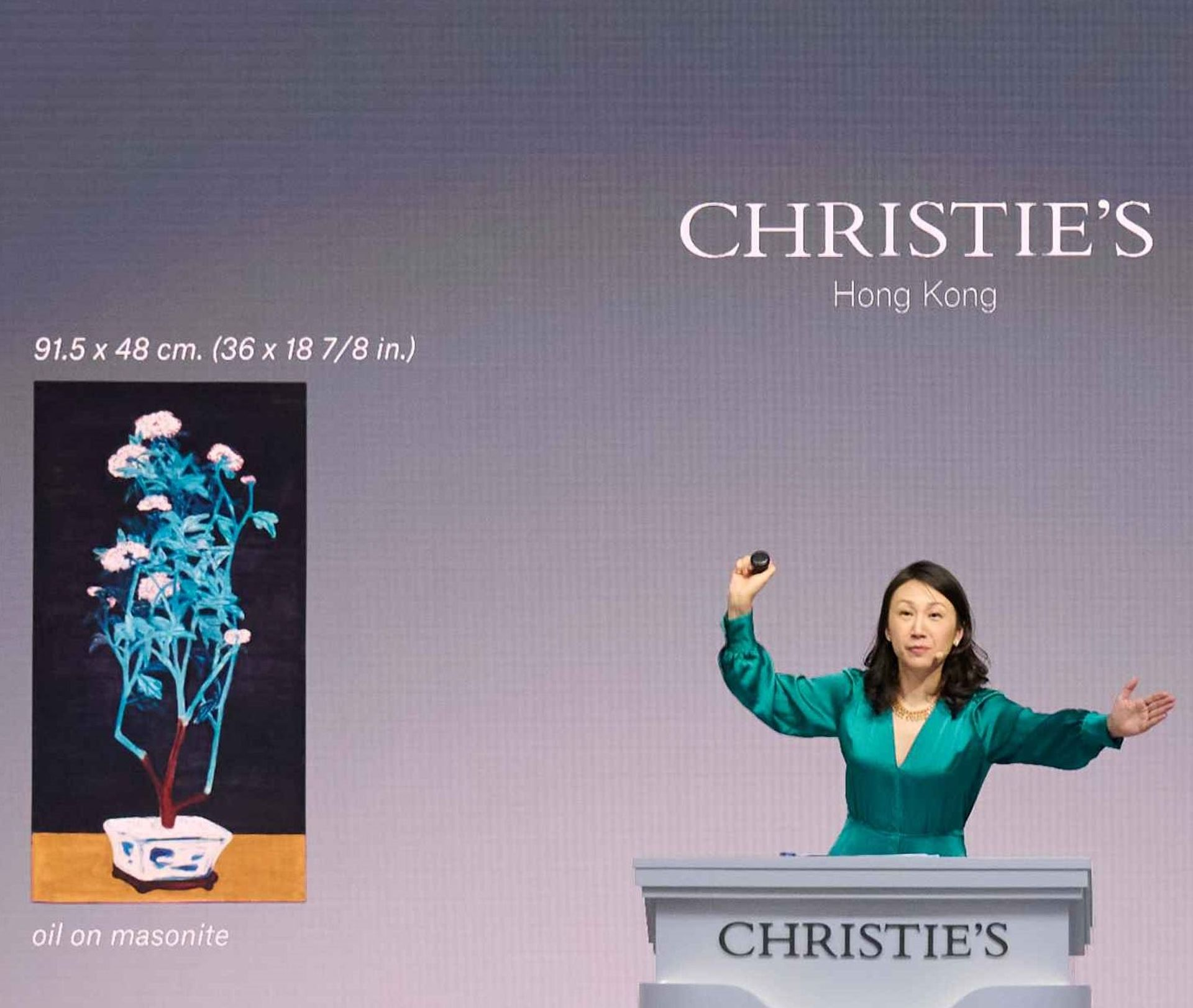 Elaine Kwok on the rostrum in Hong Kong in May Courtesy of Christie's