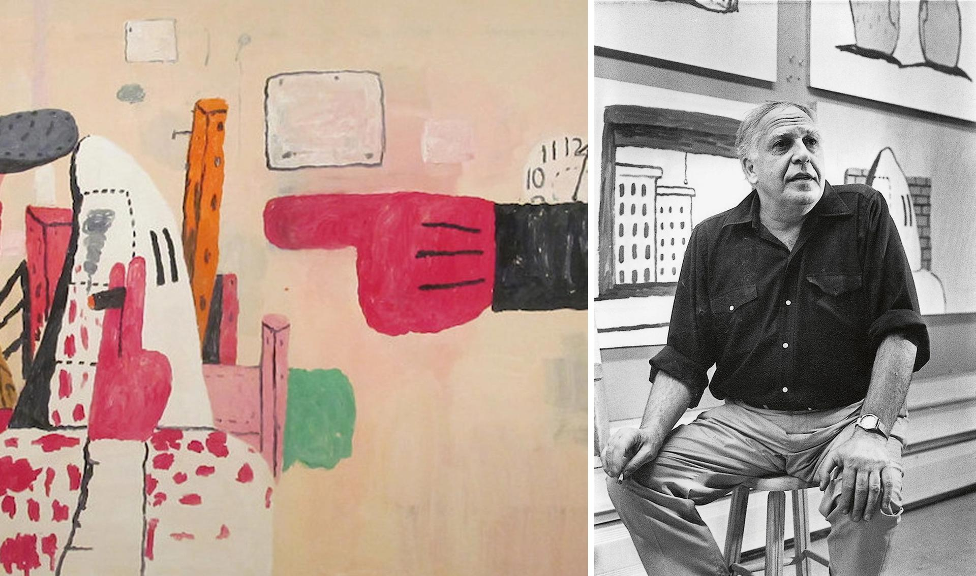 Left, a detail of Philip Guston's Courtroom (1970); right, Guston in his Woodstock studio in 1970 Guston portrait: Frank R. Lloyd; artwork photo: Flickr