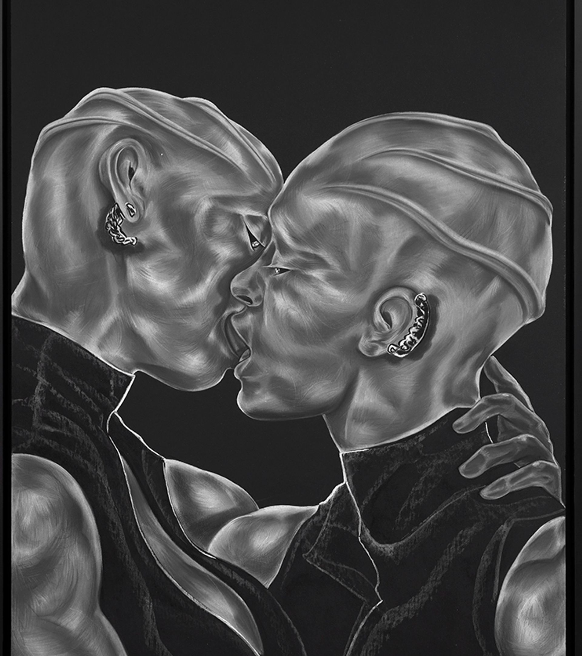 Toyin Ojih Odutola's A Parting Gift; Hers and Hers, Only from A Countervailing Theory (2019) Toyin Ojih Odutola. Courtesy of the artist and Jack Shainman Gallery, New York
