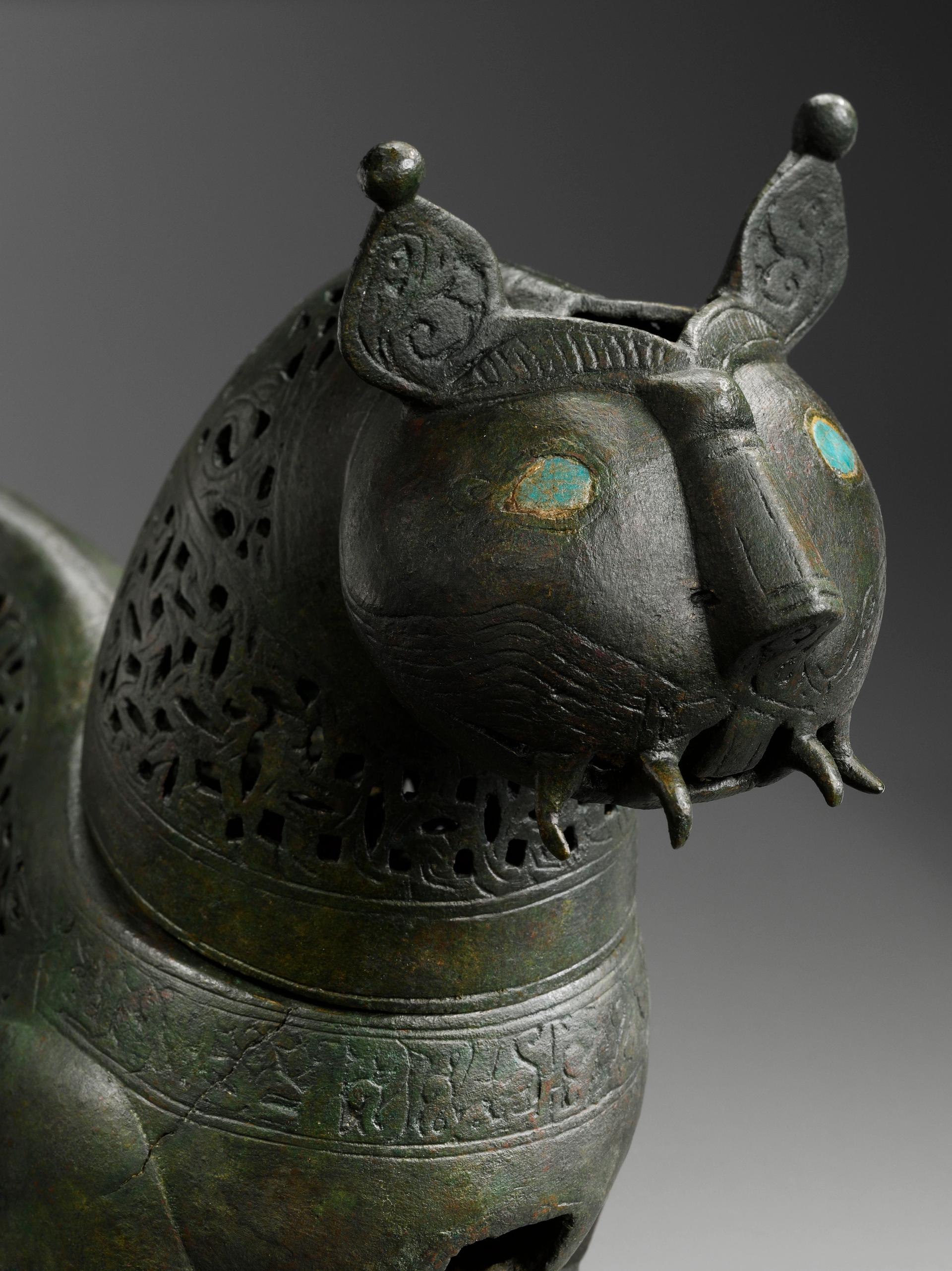 """An incense-burner in the shape of a lion (1000-1100) is on show in the """"Literary Excellence"""" section, demonstrating how texts decorated objects Photo: © Musee du Louvre, Dist. RMN-Grand Palais / Hughes Dubois"""