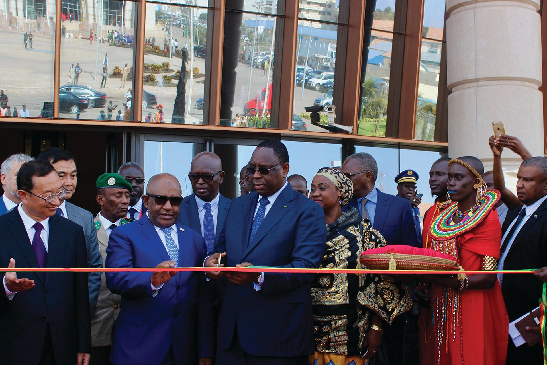Senegal's president Macky Sall cuts a ribbon at the opening of the  Museum of Black Civilisations in Dakar last December courtesy of the Department of Arts, University of Pretoria