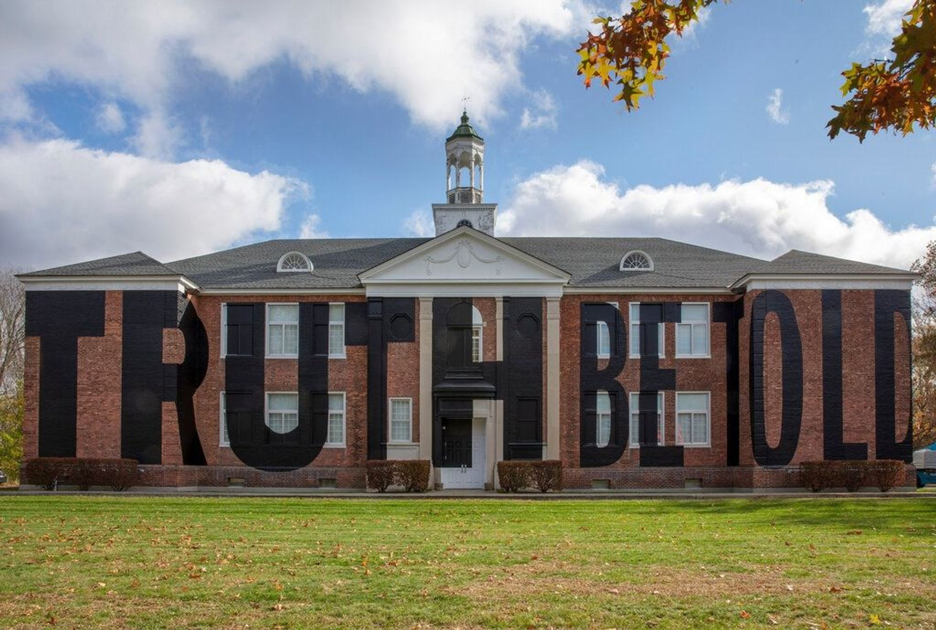 Nick Cave's Truth Be Told installed on the façade of The School in Kinderhook, New York Photo: Courtesy of Nick Cave and Jack Shainman Gallery