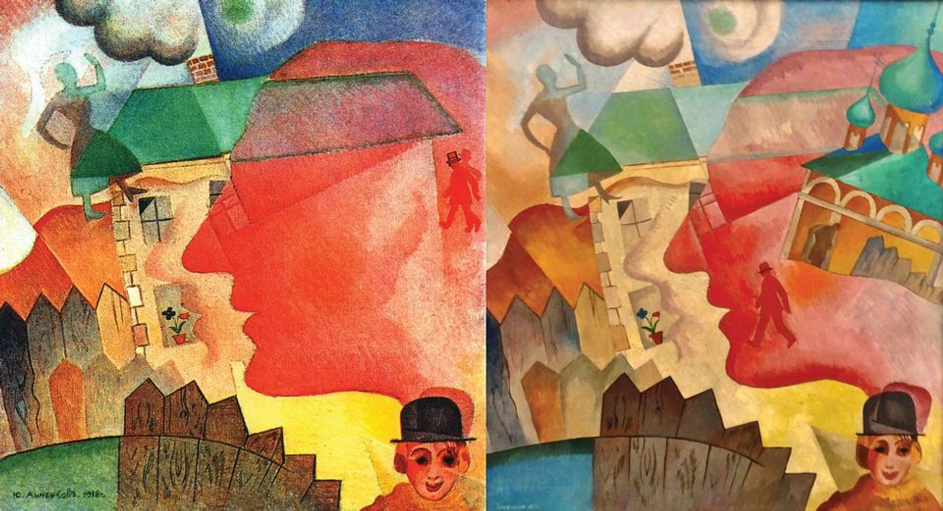 Vladimir Hofmann, the world's leading authority on Yury Annenkov, has pointed out the striking similarity between a fully authenticated Annenkov dated 1918 (left) and a work ascribed to the artist, labelled Synthetic Landscape and dated 1919, which was on display in the Ghent show Dieleghem Foundation (Synthetic landscape)