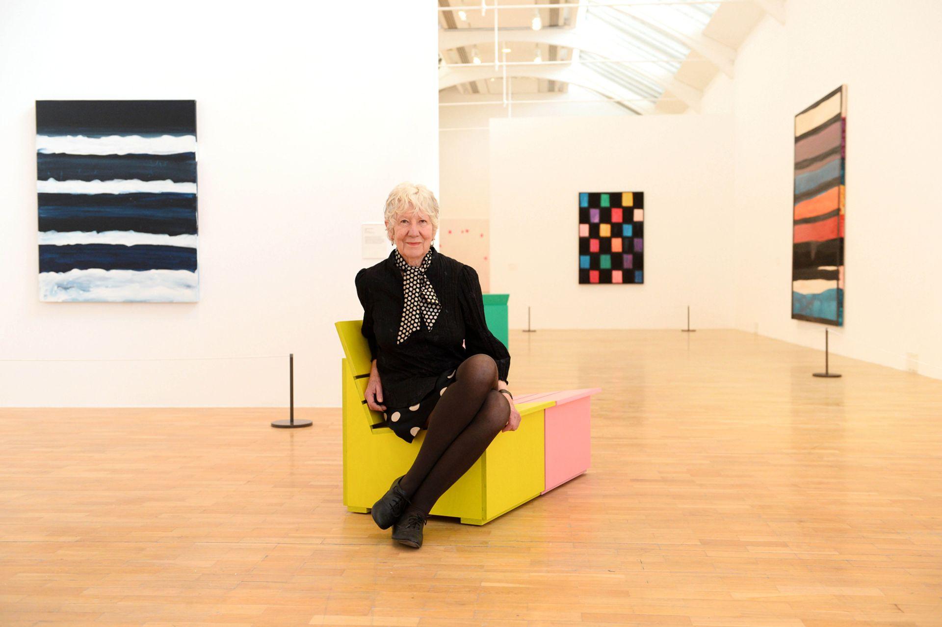 Mary Heilmann at the Whitechapel Gallery in 2016. Heilmann's show Past Present Future at Hauser & Wirth Zurich is now online © Matt Crossick/PA Wire