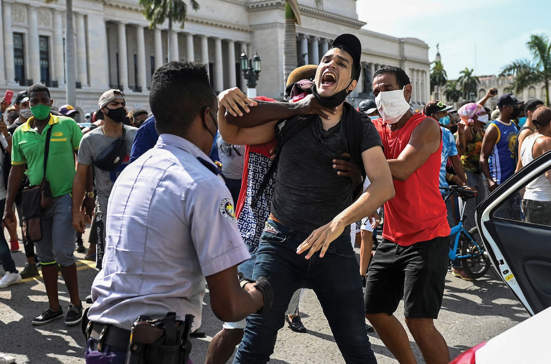 """Demonstrations against the Communist party erupted across Cuba on 11 July, with chants of, """"We want liberty!"""" © Yamil Lage/AFP via Getty images"""