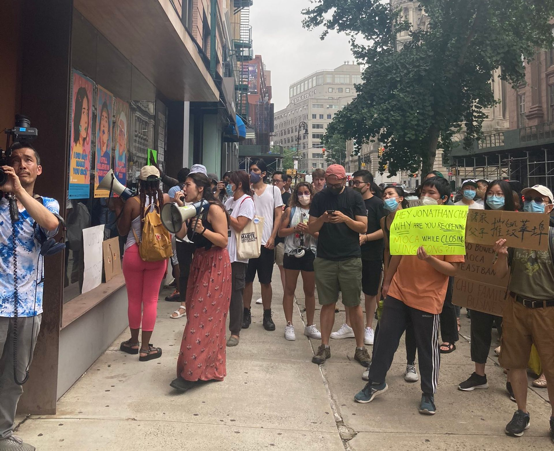 Protestors in front of the Museum of Chinese in America at its reopening Photo: Youth Against Displacement @YADArmy1 via Twitter