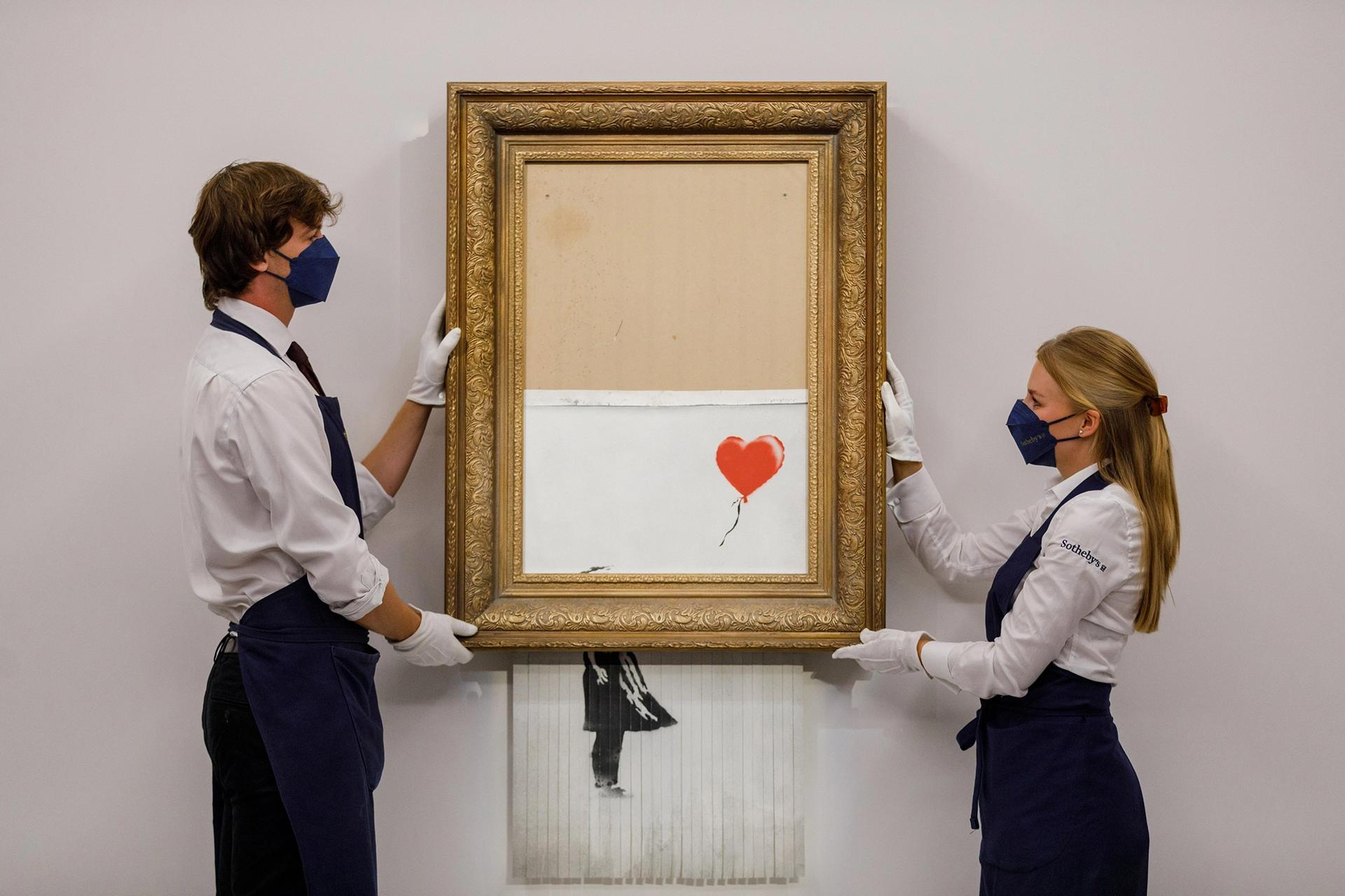 Bin there, done that: Banksy's shredded Girl with Balloon, now called Love is in the Bin, will be auctioned tonight at Sotheby's Courtesy of Sotheby's