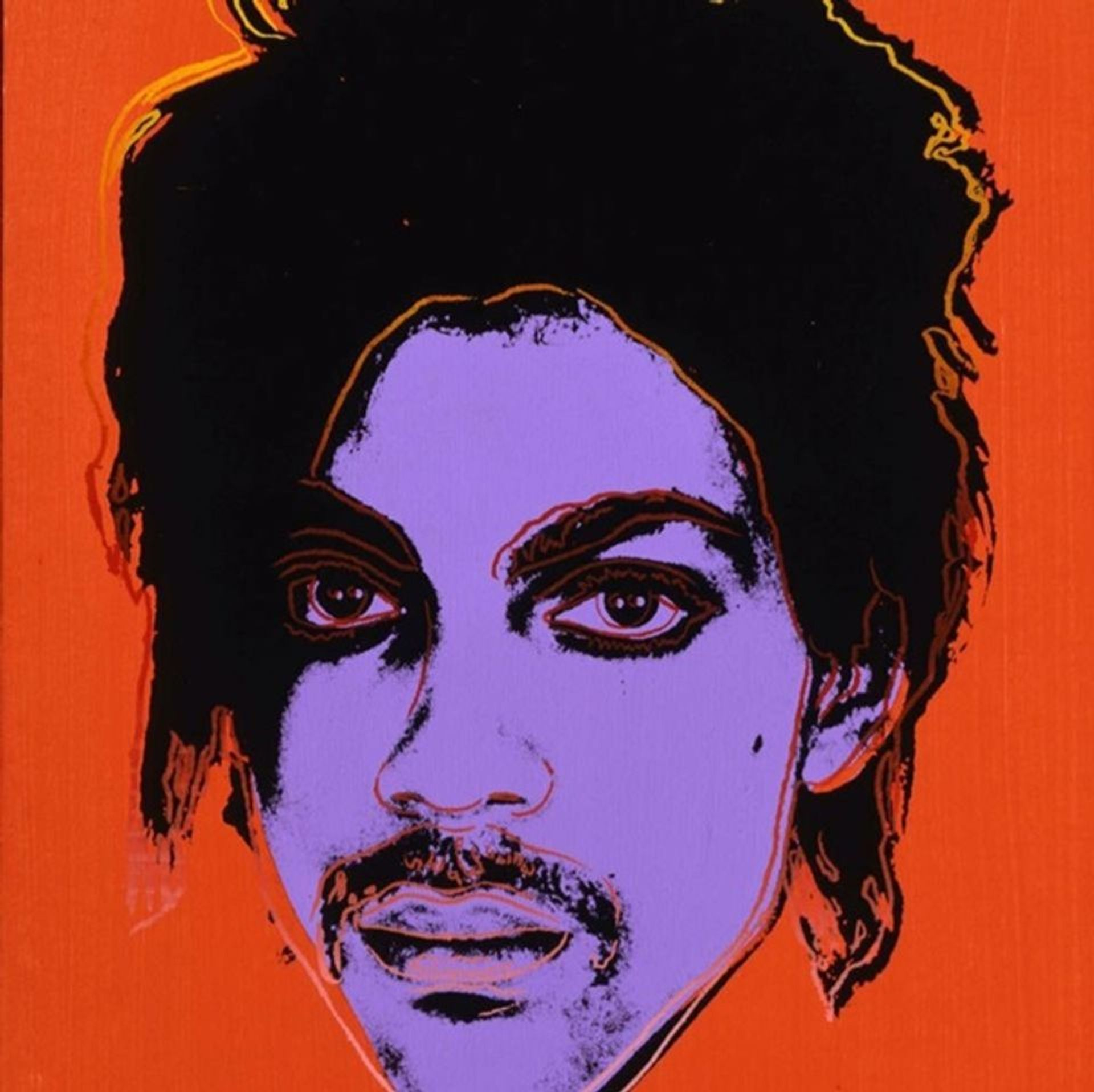 A portrait of Prince by Andy Warhol based on a photograph by Lynn Goldsmith