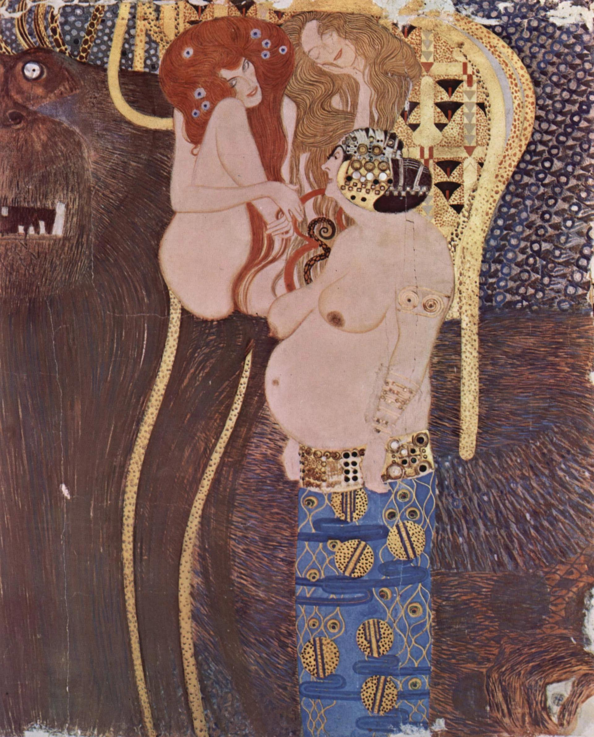 A section from Gustav Klimt's Beethoven Frieze (1902) The Yorck Project (2002) 10.000 Meisterwerke der Malerei, distributed by Directmedia via Wikicommons