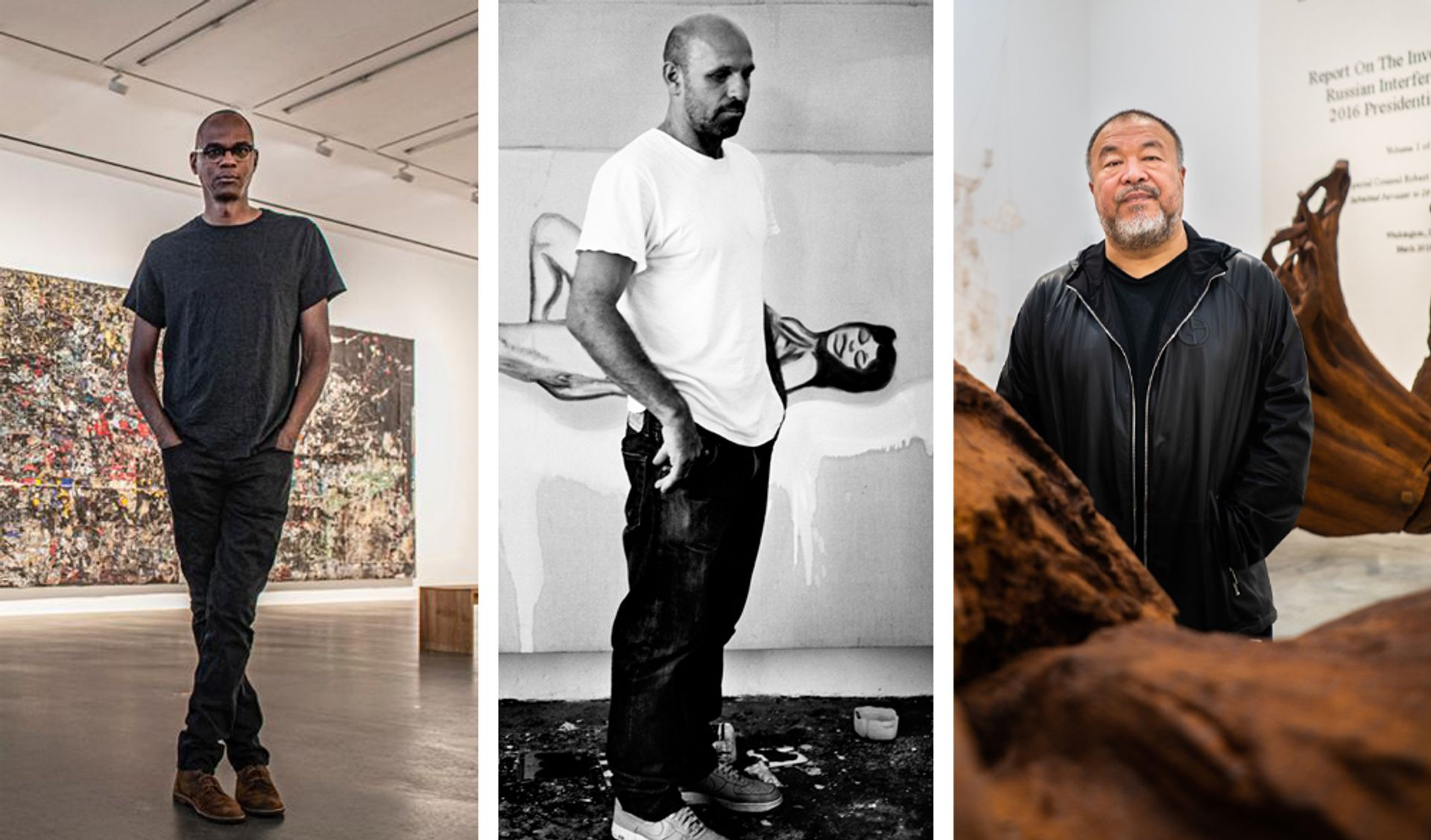 The Art Newspaper podcast speaks to Mark Bradford, Peter Doig and Ai Weiwei this week Photos from left to right: © Sim Canetty- Clark and courtesy of Hauser & Wirth London; © Anton Corbijn and courtesy Michael Werner Gallery, New York and London; and © David Clack