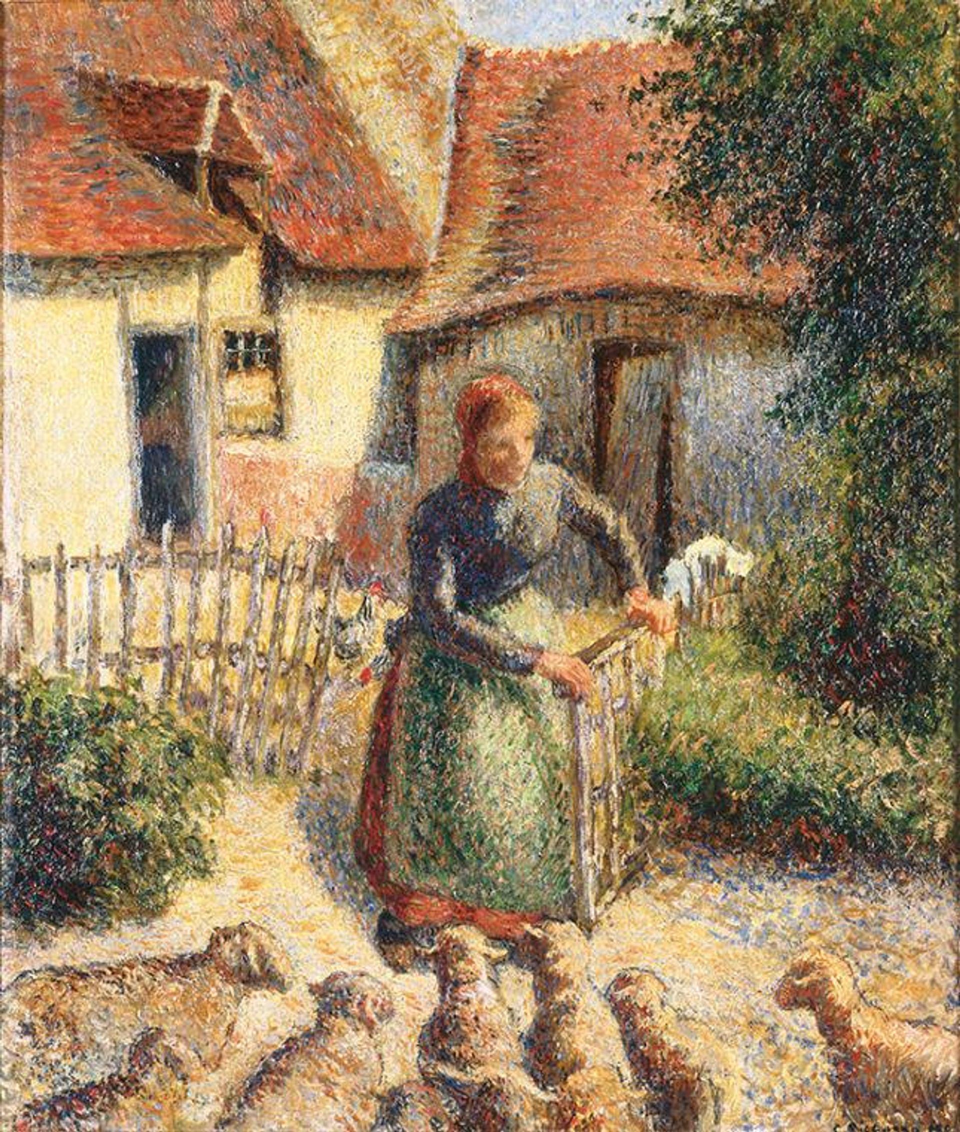 Camille Pissarro's La Bergère Rentrant des Moutons (or The Shepherdess Bringing in Sheep) (1886)