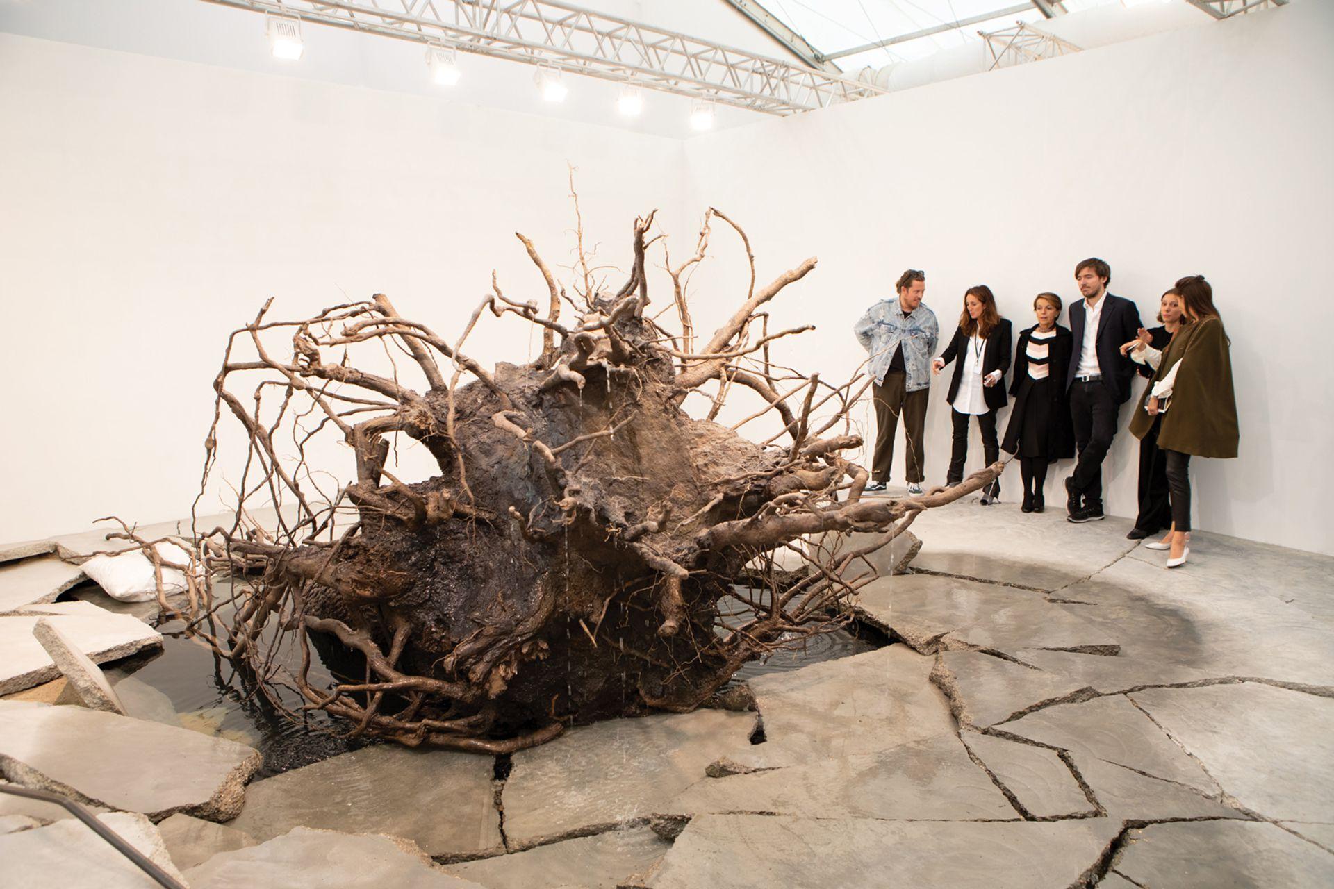The centrepiece of Tatiana Trouvé's The Shaman (2018) is a 1.2-tonne bronze tree © David Owens/The Art Newspaper