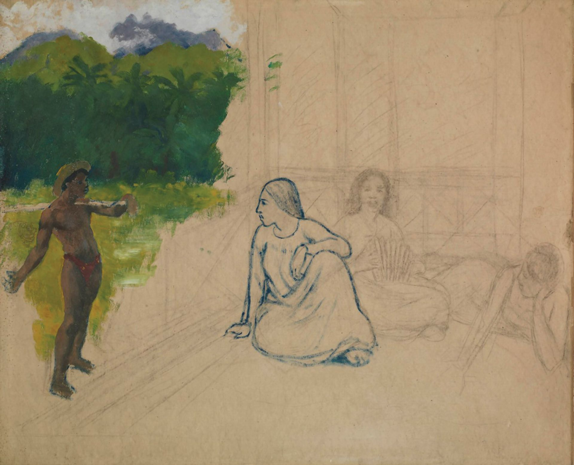 The Tate's supposed Gauguin, Tahitians (which the gallery dates at around 1891) depicts a young man painted in oils, a woman in blue crayon and two further women sketched in charcoal. Courtesy of Tate