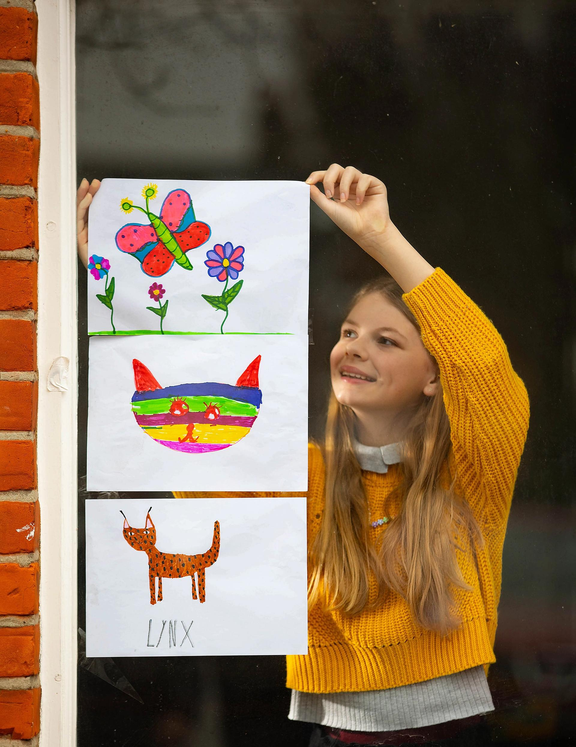 The UK public are invited to place their art in front windows, porches and balconies