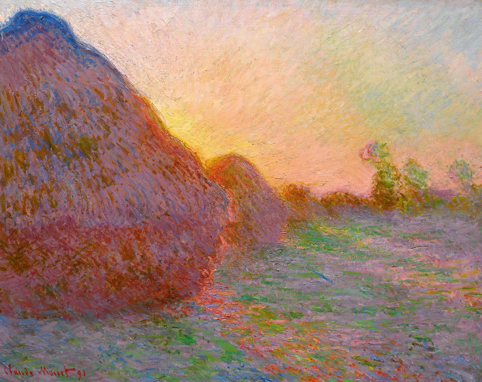 Claude Monet's Meules (1890) sold for a record $110.7m (with fees) in May in New York Courtesy of Sotheby's