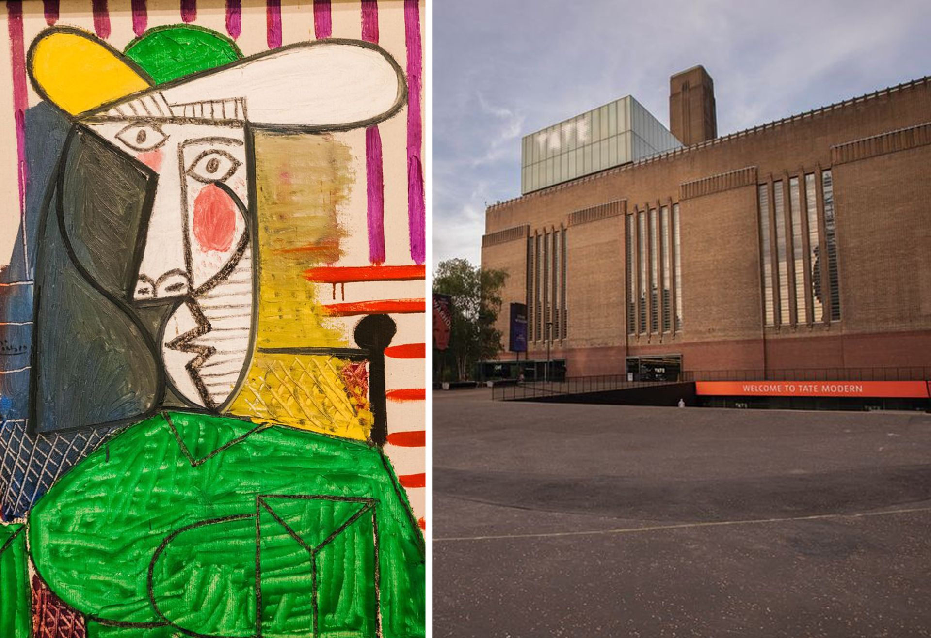 Left, Pablo Picasso's Bust of a Woman (1944) and right, the Tate Modern where the painting was damaged last December Picasso: © Steve Vidler/Alamy; Tate: © David Owens