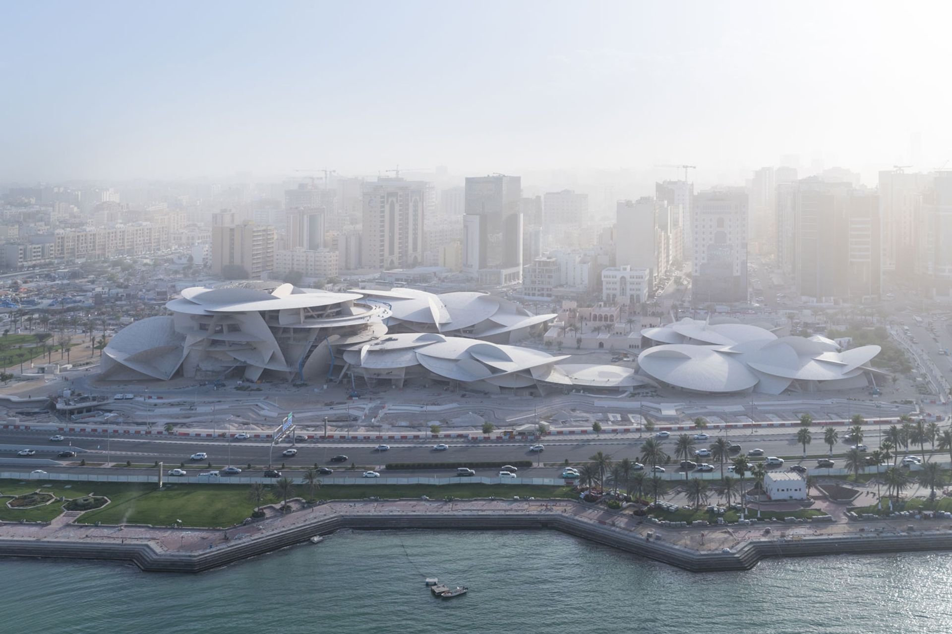 An arial  view  of  the  future  National  Museum  of  Qatar  designed by Atelier Jean Nouvel © Iwan  Baan