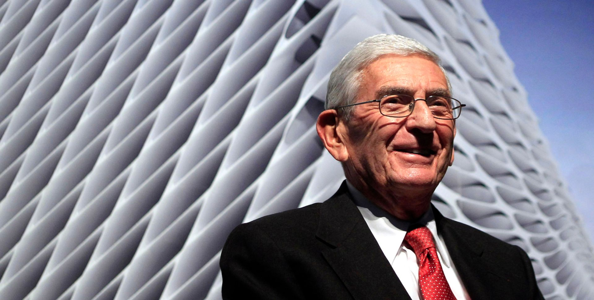 Billionaire Eli Broad attends the unveiling of the Broad Art Foundation contemporary art museum designs in Los Angeles in 2011 (AP Photo/Jae C. Hong)