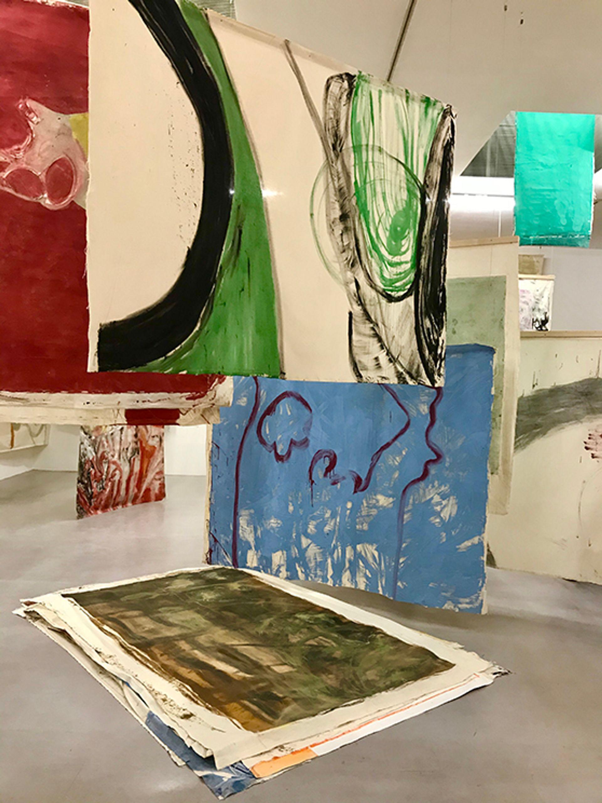 Installation view of Vivian Suter's exhibition at Camden Art Centre Courtesy of Louisa Buck