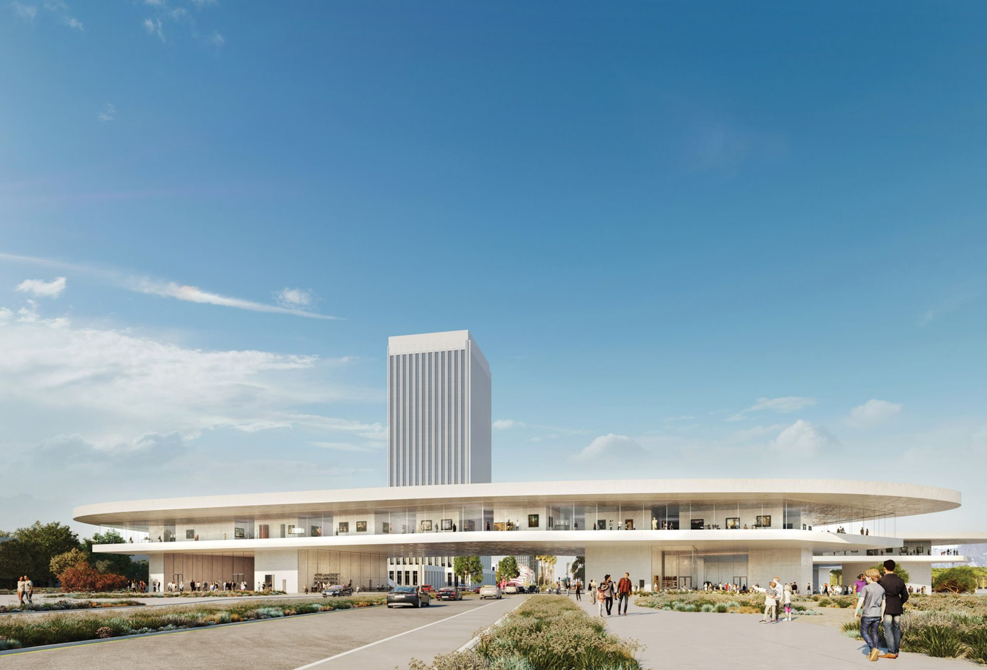 Peter Zumthor's controversial design replaces Lacma's four existing structures and straddles Wilshire Boulevard Rendering courtesy of the Los Angeles County Museum of Art.