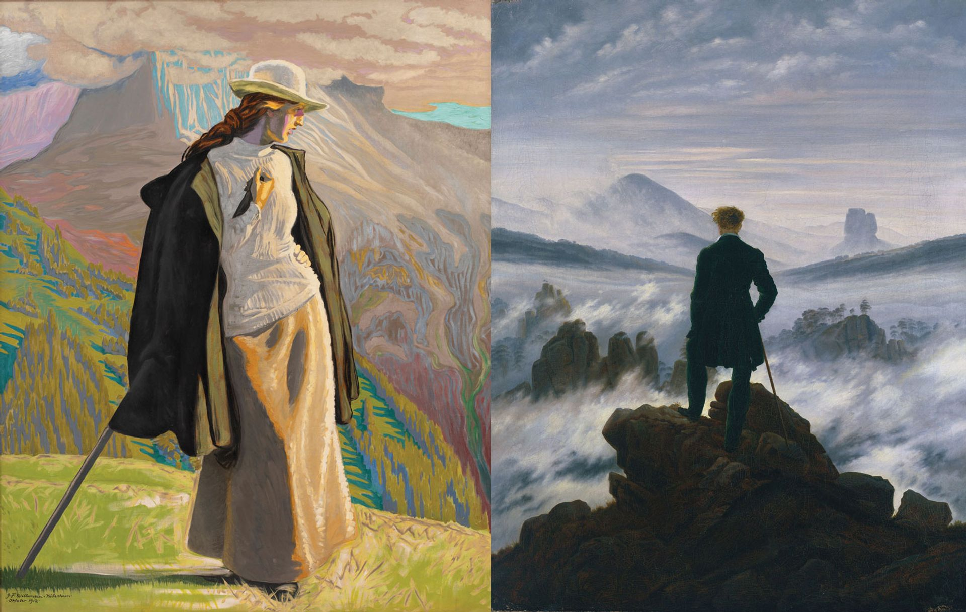 Willumsen's A Mountain Climber (1912, left) and Friedrich's Wanderer above the Sea of Fog (around 1817, right) Willumsen: Statens Museum for Kunst, Copenhagen; Friedrich: SHK/Hamburger Kunsthalle/bpk/Elke Walford