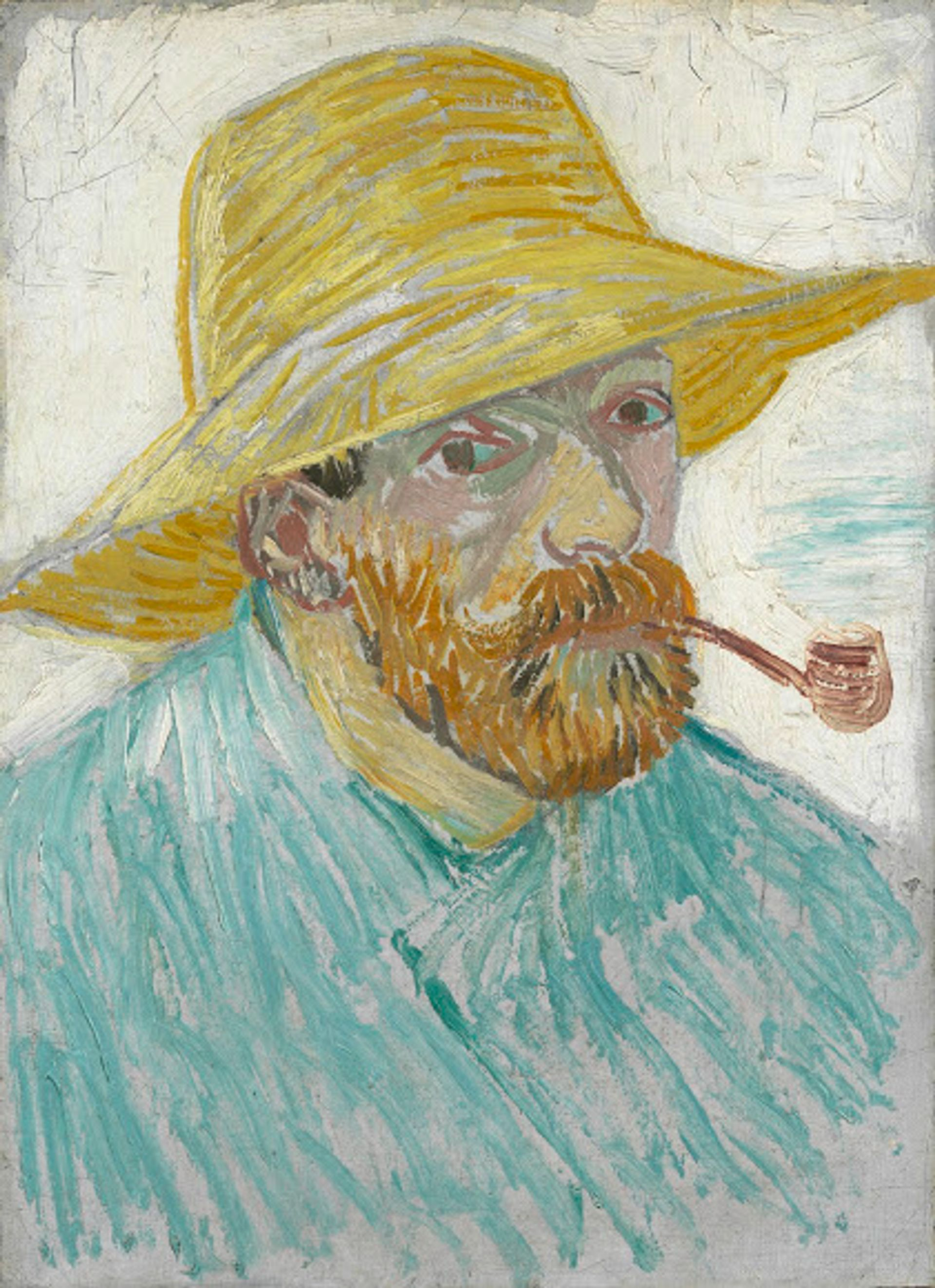 Vincent van Gogh's Self-portrait with Pipe and Straw Hat (1887) Courtesy of the Van Gogh Museum, Amsterdam (Vincent van Gogh Foundation)